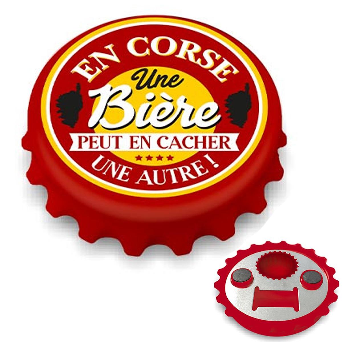 Décapsuleur magnétique humoristique \'Corsica\' rouge jaune (En Corse une bière peut en cacher une autre !) - 80x15 mm - [A2219]