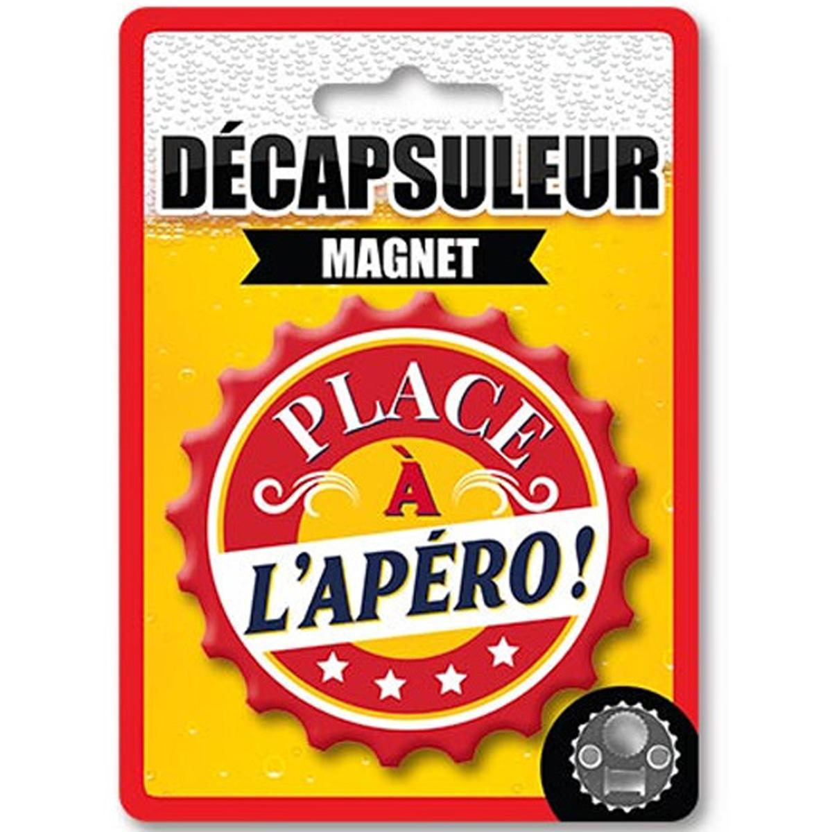 Décapsuleur magnétique humoristique \'Place à l\'Apéro !\' rouge - 80x15 mm - [A2222]
