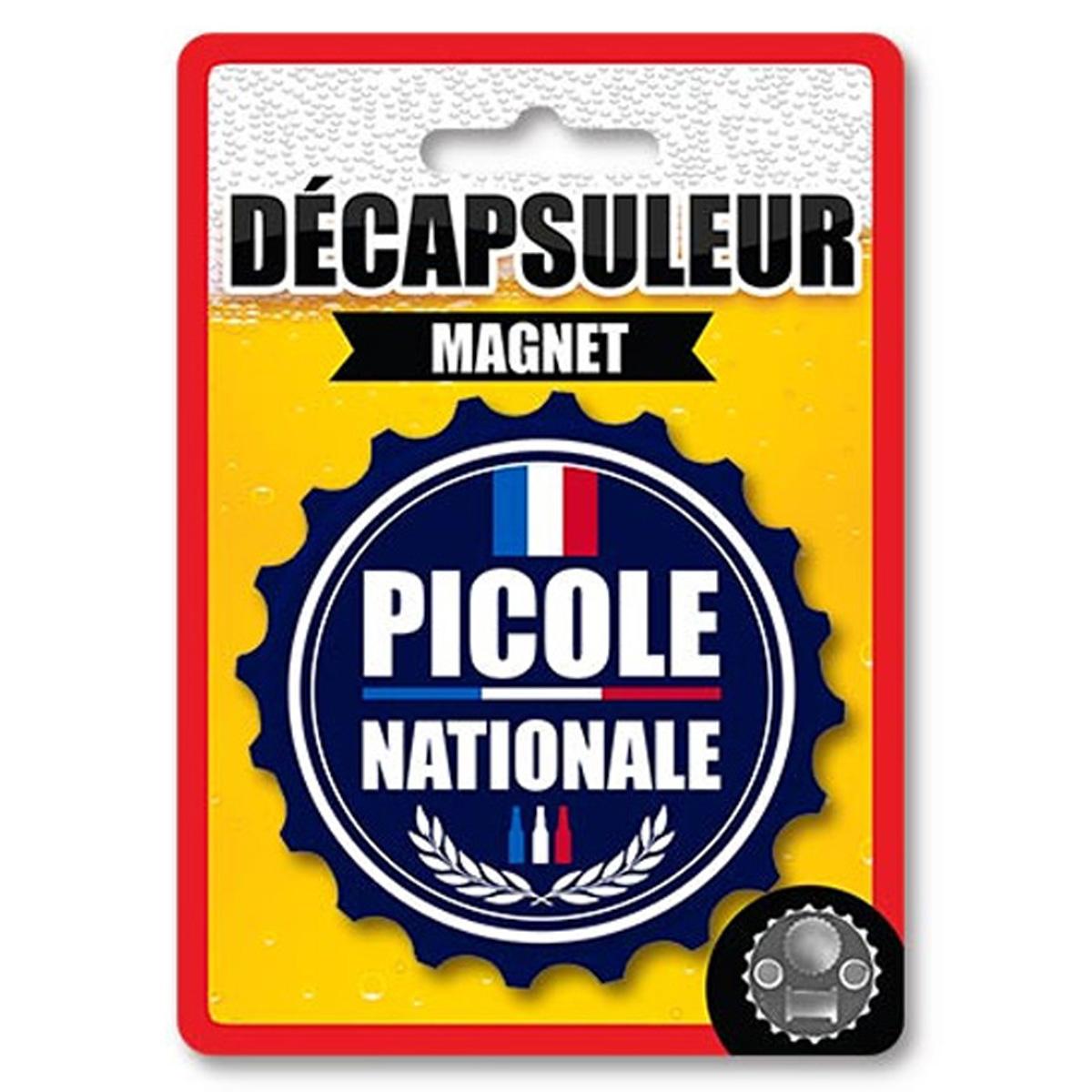 Décapsuleur magnétique humoristique \'Picole Nationale\' bleu - 80x15 mm - [A2223]