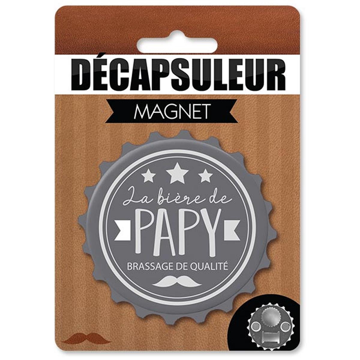 Décapsuleur magnétique humoristique \'Papy\' gris (la bière de Papy) - 80x15 mm - [A2225]