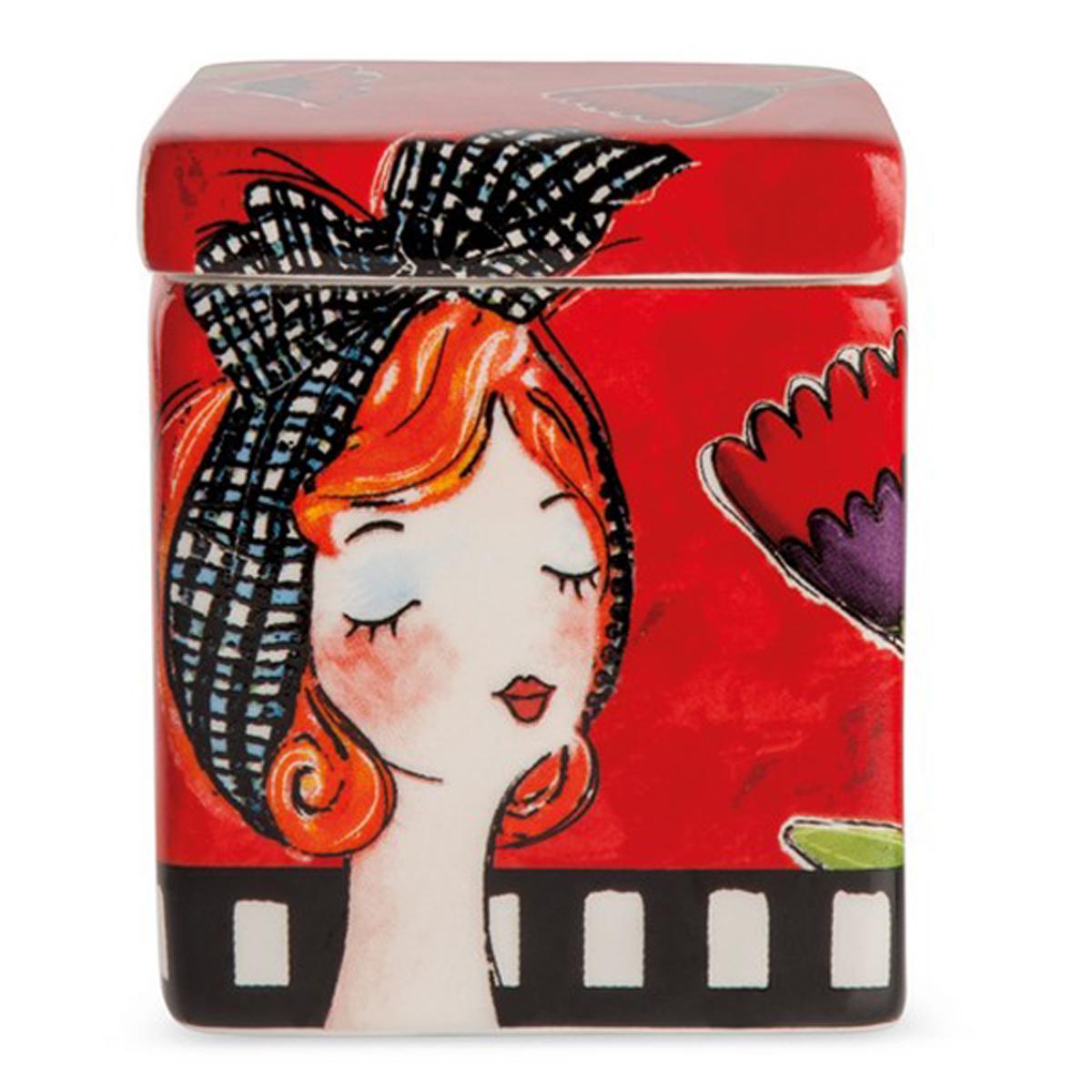 Bougie parfumée céramique \'Pupazze\' rouge - 8x6x6 cm - [A2247]