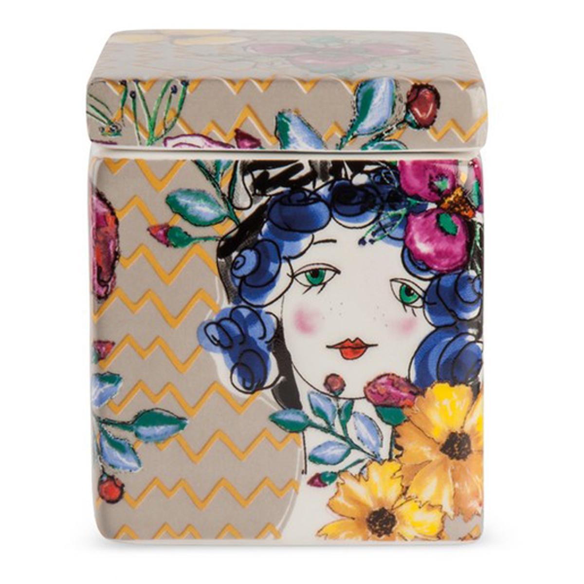 Bougie parfumée céramique \'Pupazze\' taupe multicolore - 8x6x6 cm - [A2249]