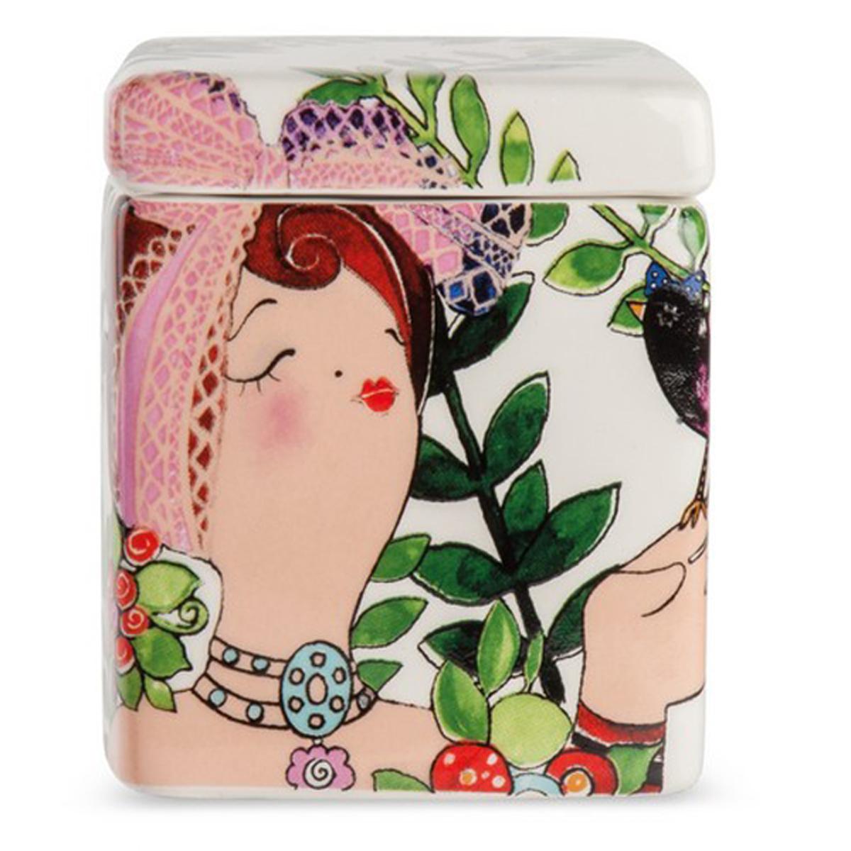 Bougie parfumée céramique \'Pupazze\' blanc multicolore - 8x6x6 cm - [A2251]