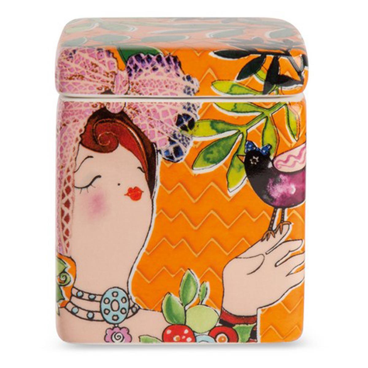 Bougie parfumée céramique \'Pupazze\' orange - 8x6x6 cm - [A2252]