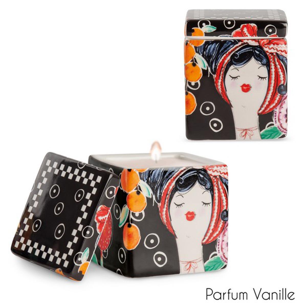 Bougie parfumée céramique \'Pupazze\' noir rouge - 8x6x6 cm - [A2253]