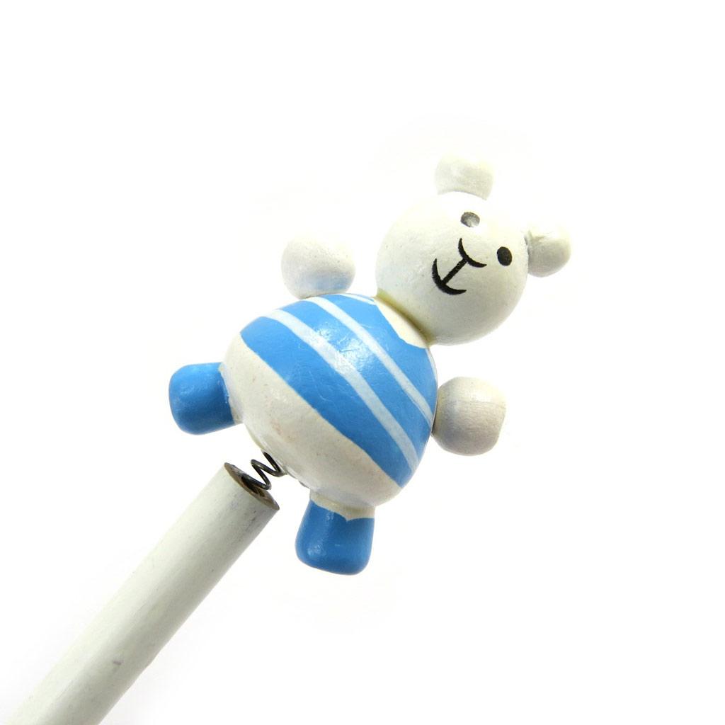 Crayon bois \'Animaux\' teddy blanc bleu - [M1385]