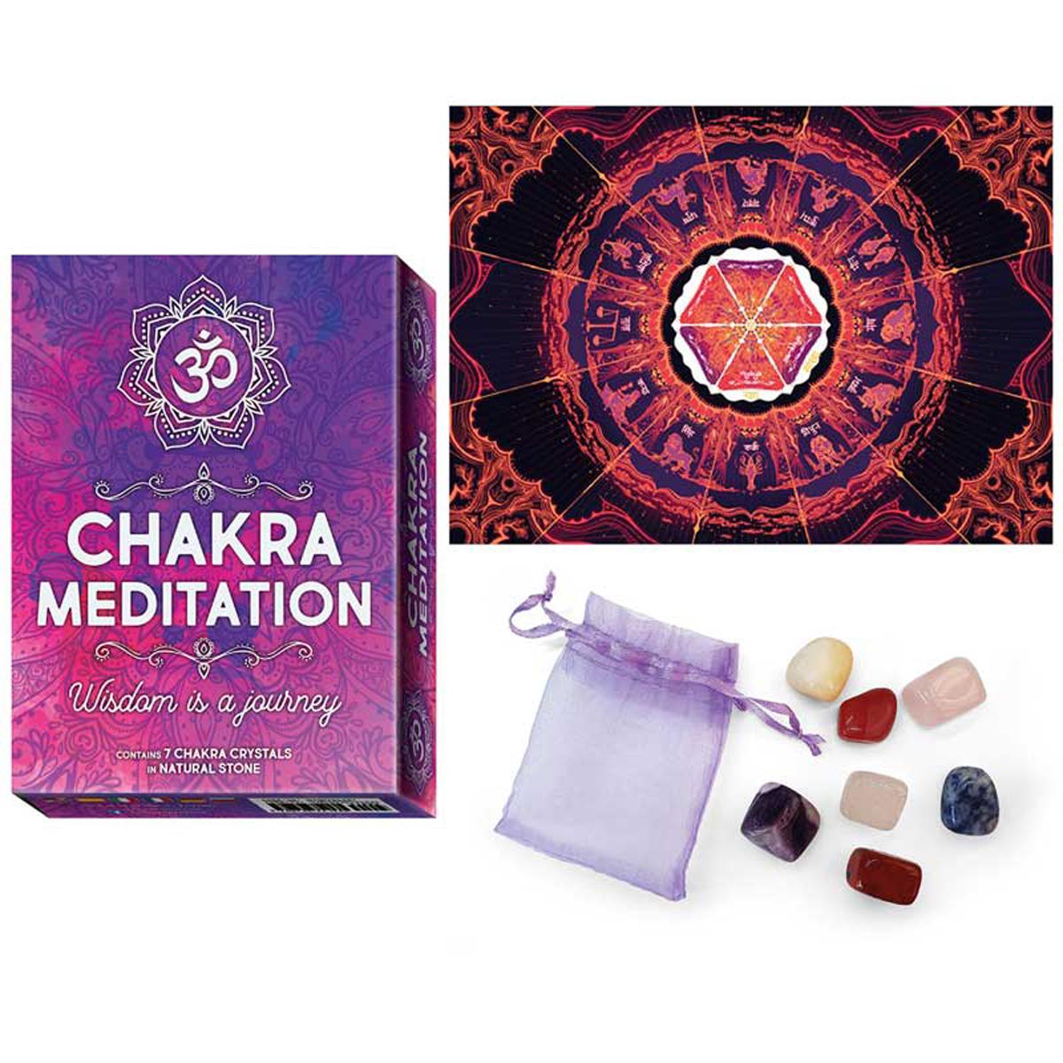 Jeu de cartes d\'inspiration \'Chakra Meditation\' rose violet - 135x10x4 cm - [R2817]