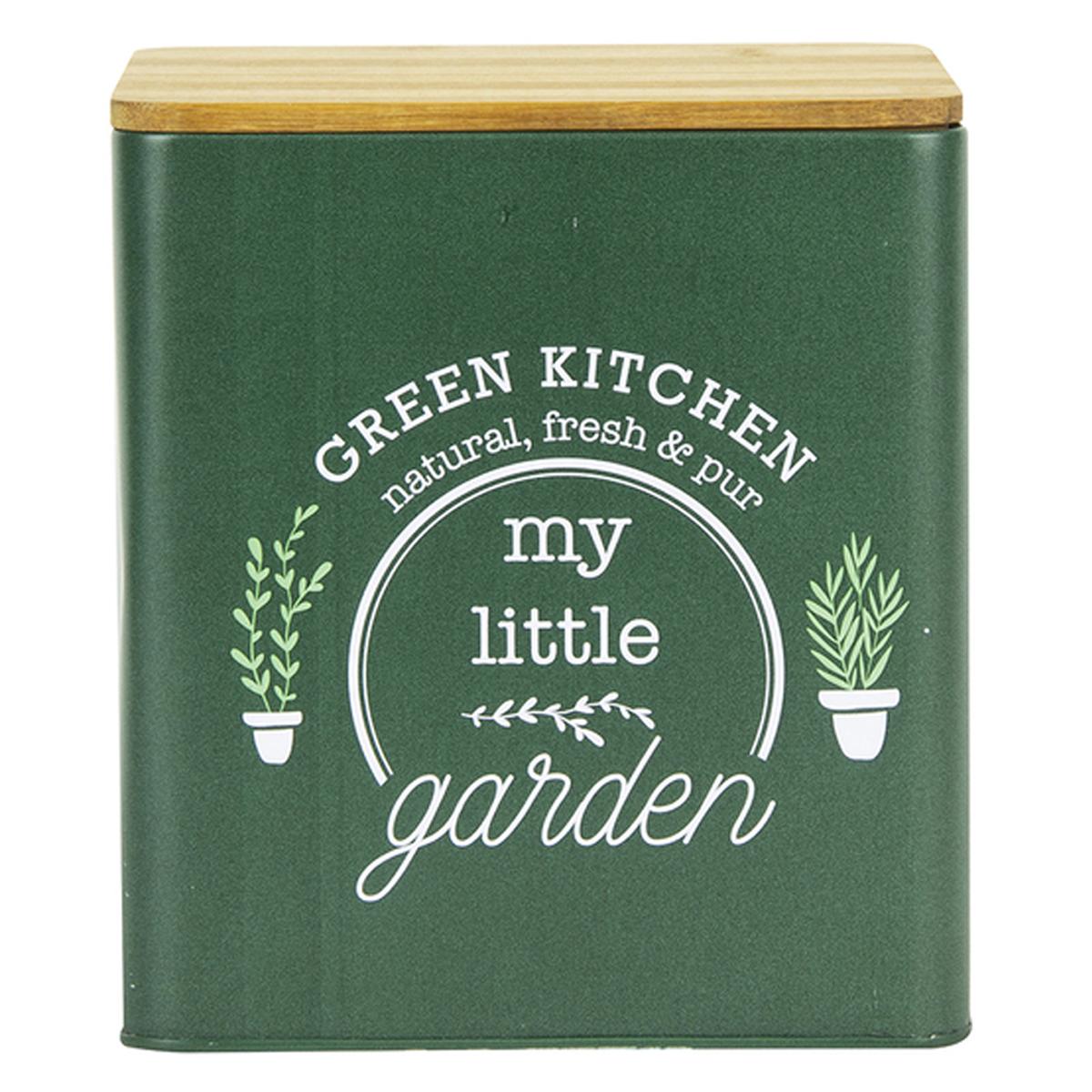 Boite métal bois \'My Little Garden\' vert - 16x14x14 cm - [A2258]