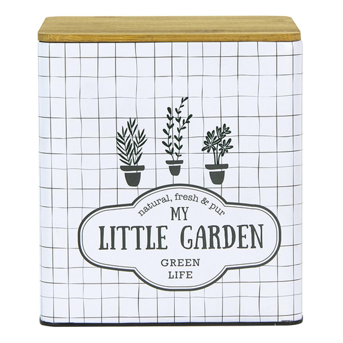 Boite métal bois \'My Little Garden\' blanc - 16x14x14 cm - [A2259]