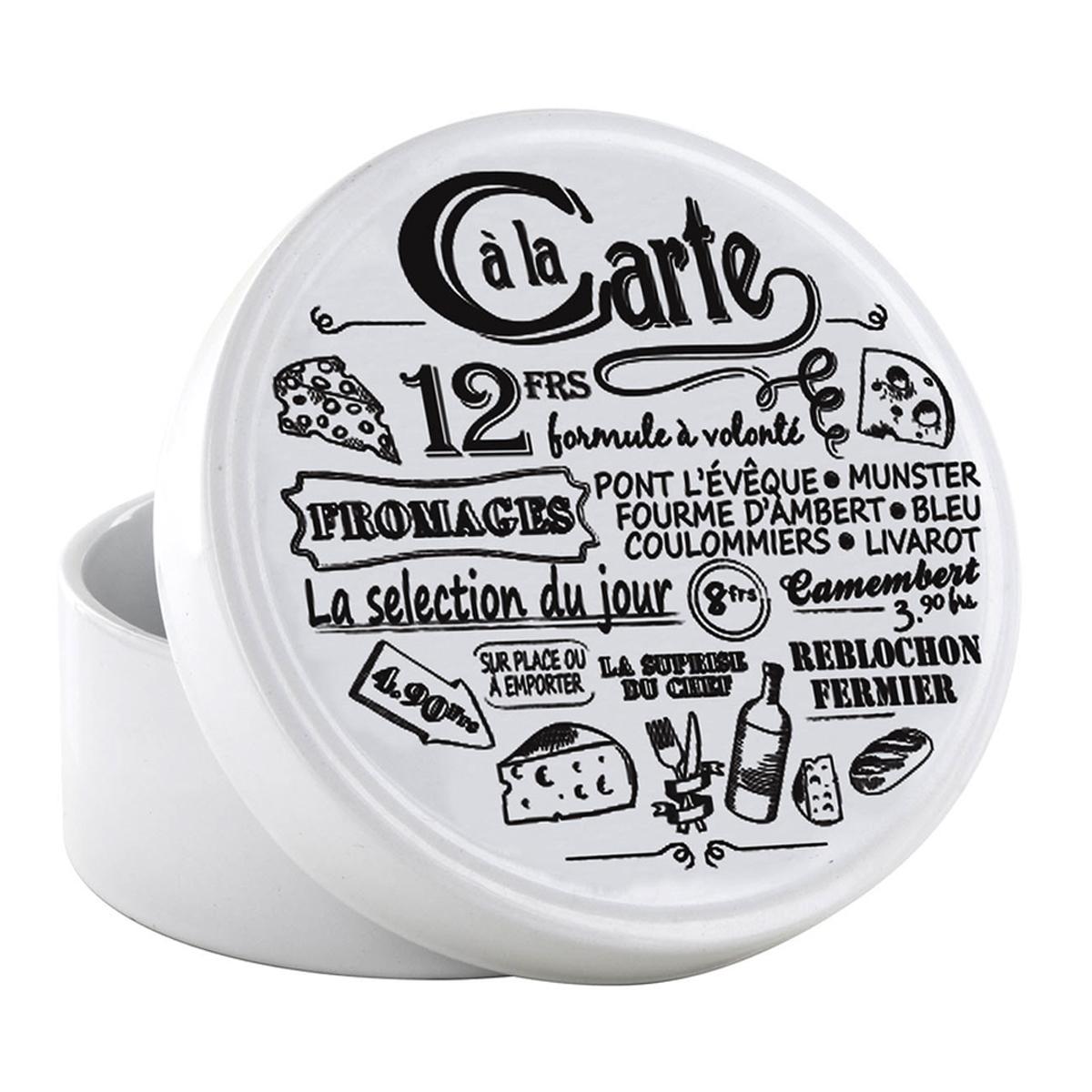 Boite à camembert céramique \'Carte des Fromages\' blanc noir - 13x7 cm - [A2261]