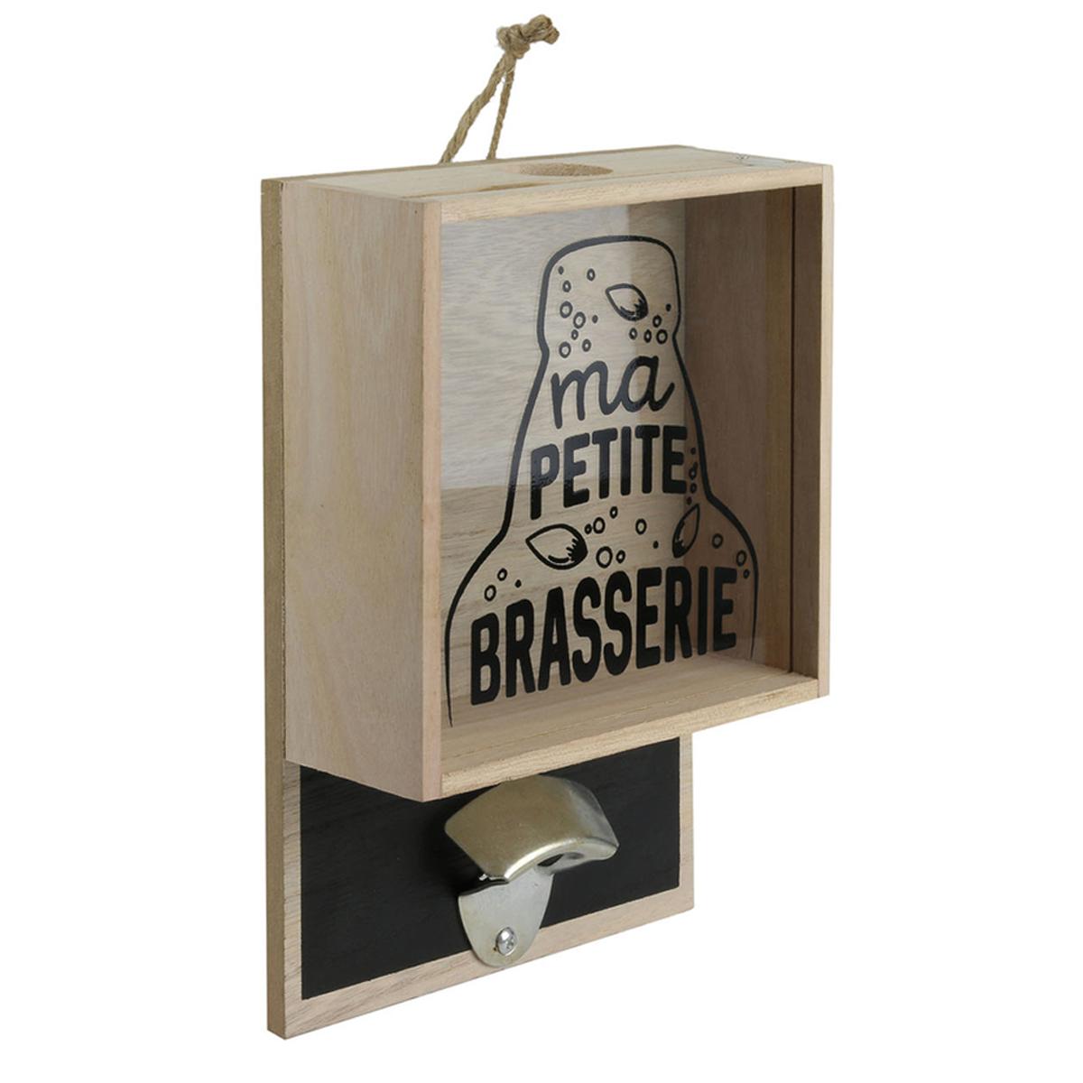 Décapsuleur mural bois \'Ma Petite Brasserie\' beige noir - 26x18x7 cm - [A2268]