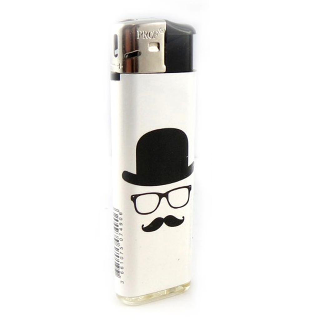 Briquet \'Moustaches\' blanc noir - 80x25 mm - [A2275]