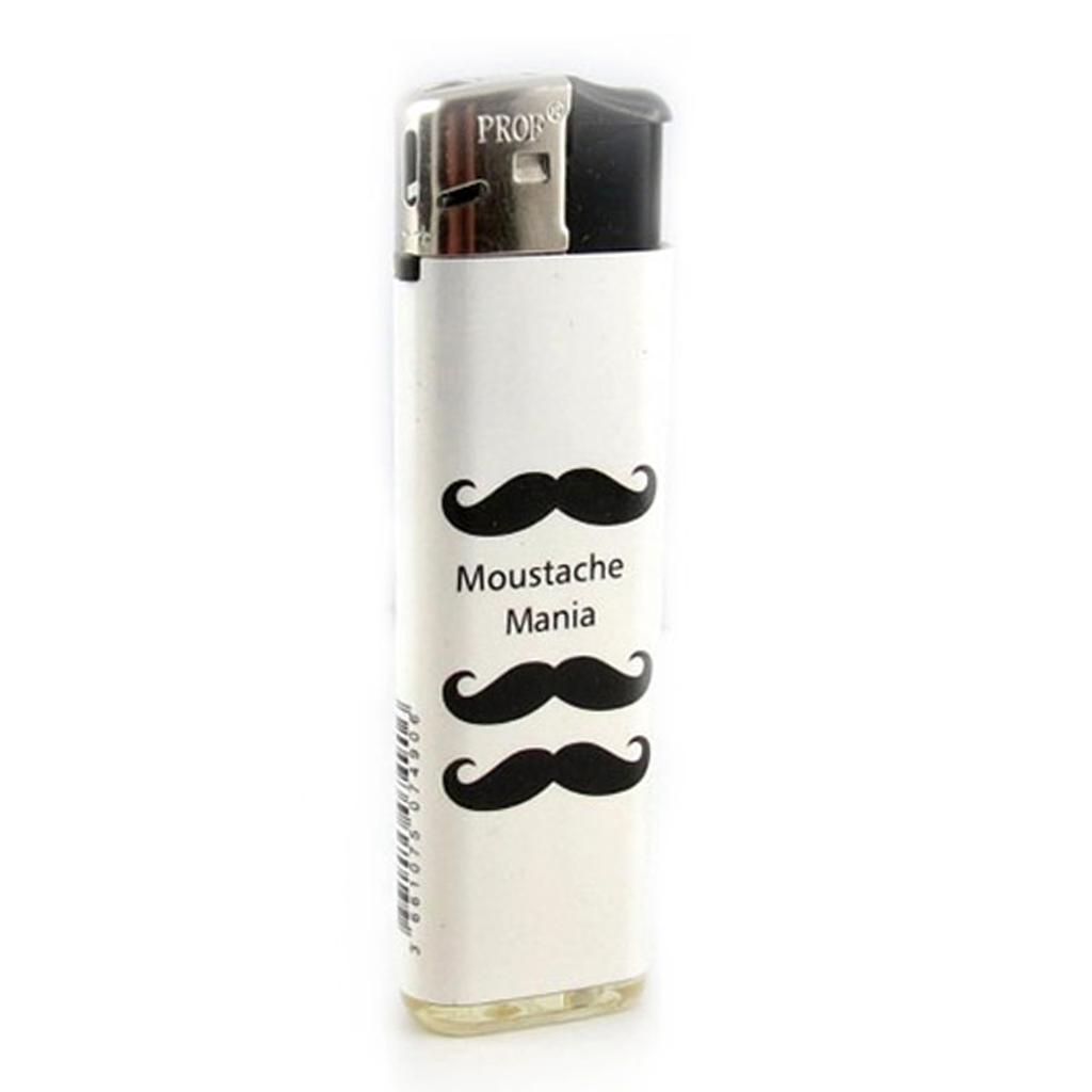 Briquet \'Moustaches\' blanc noir - 80x25 mm - [A2277]