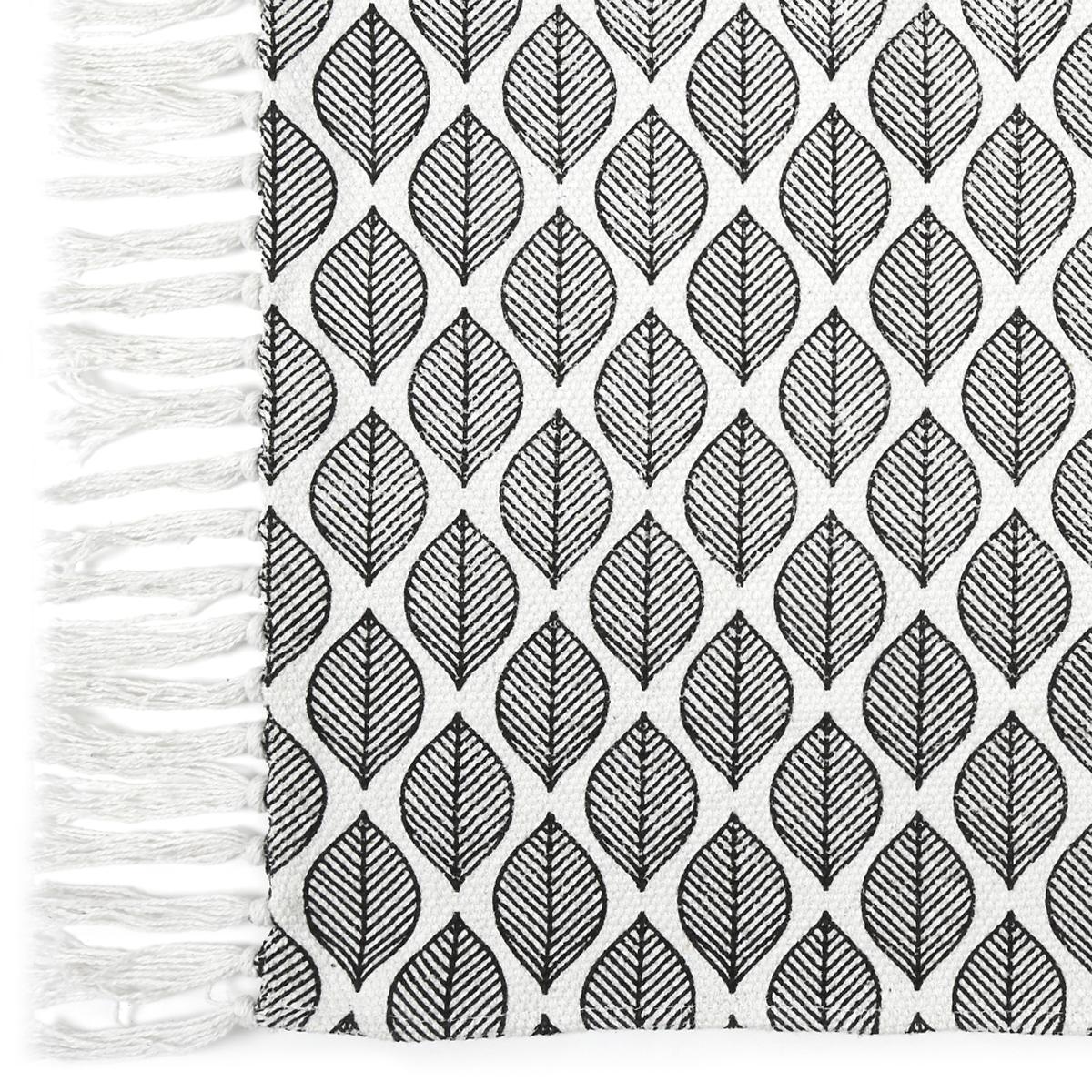 Tapis coton \'Boho\' noir blanc - 80x50 cm - [A2287]