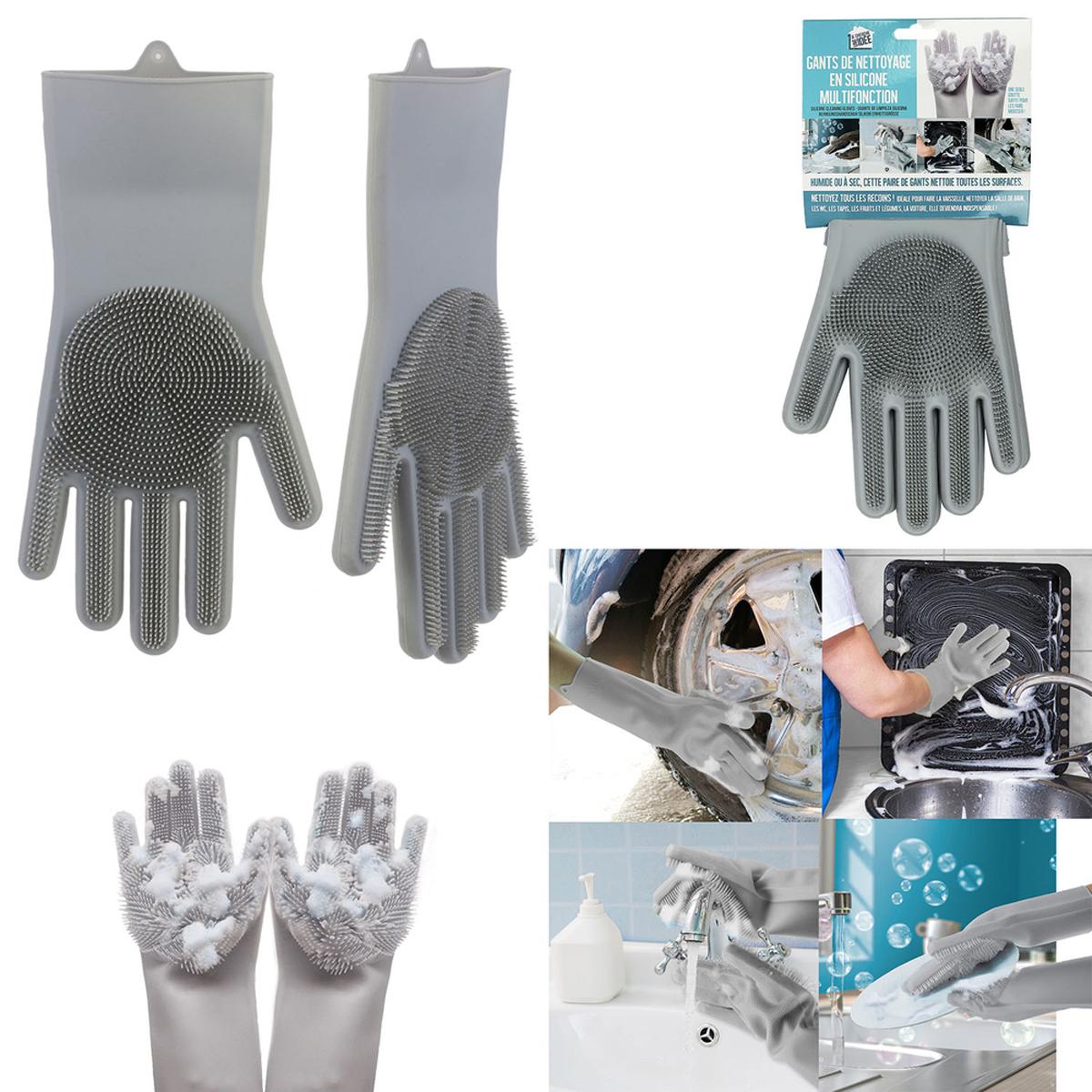 Gants de vaisselle silicone \'Astuces\' gris - 32x15 cm - [A2293]