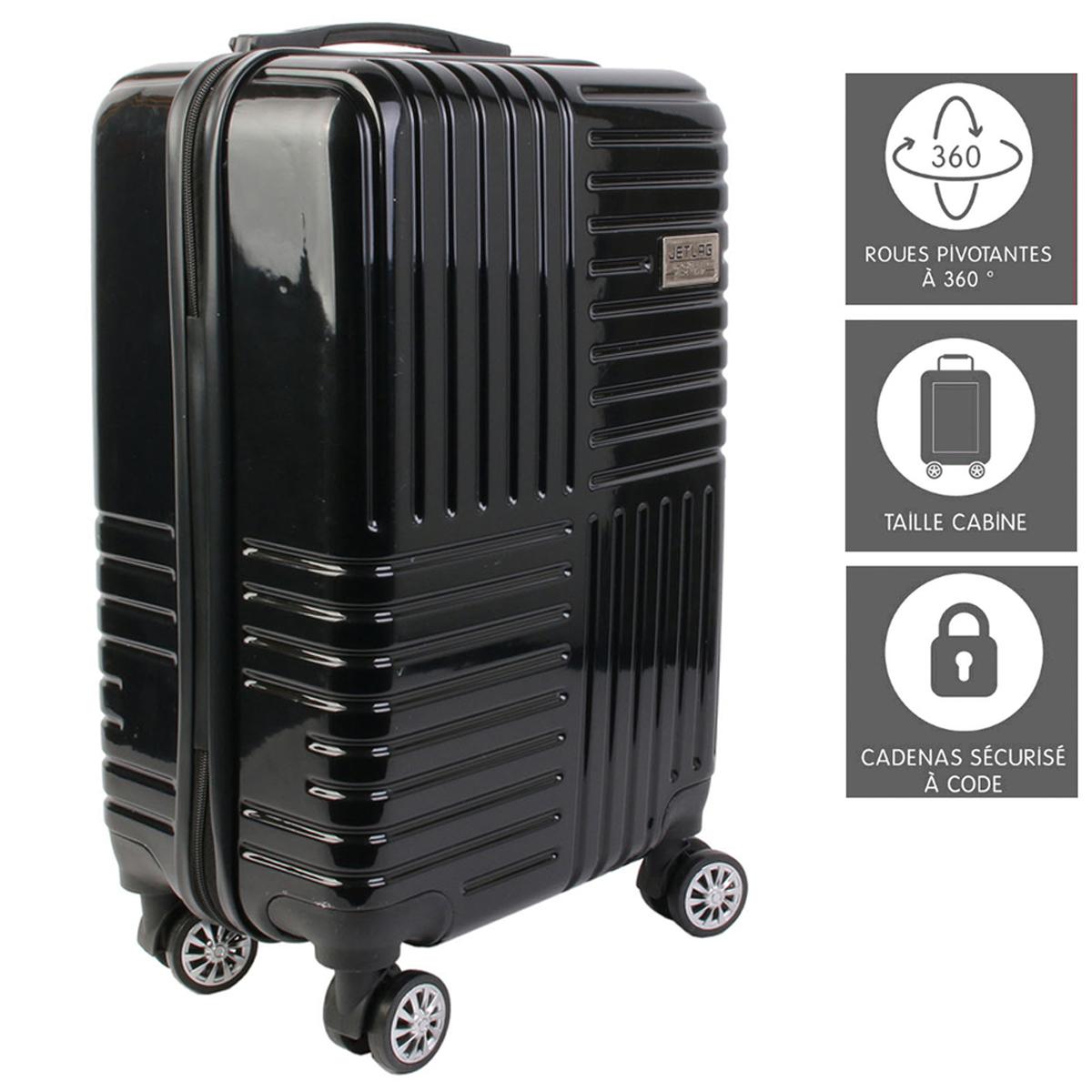 Valise trolley ABS \'Globe Trotteur\' noir - 56x35x23 cm (35L) - [A2295]