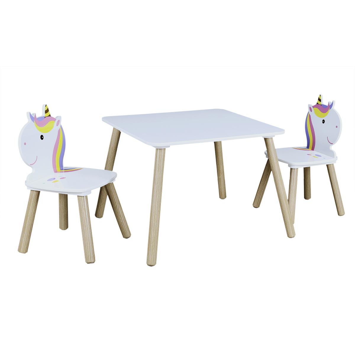 Ensemble table et 2 chaises enfant \'Licorne My Unicorn\' blanc rose mauve - table 55x55x43 cm - [A2312]