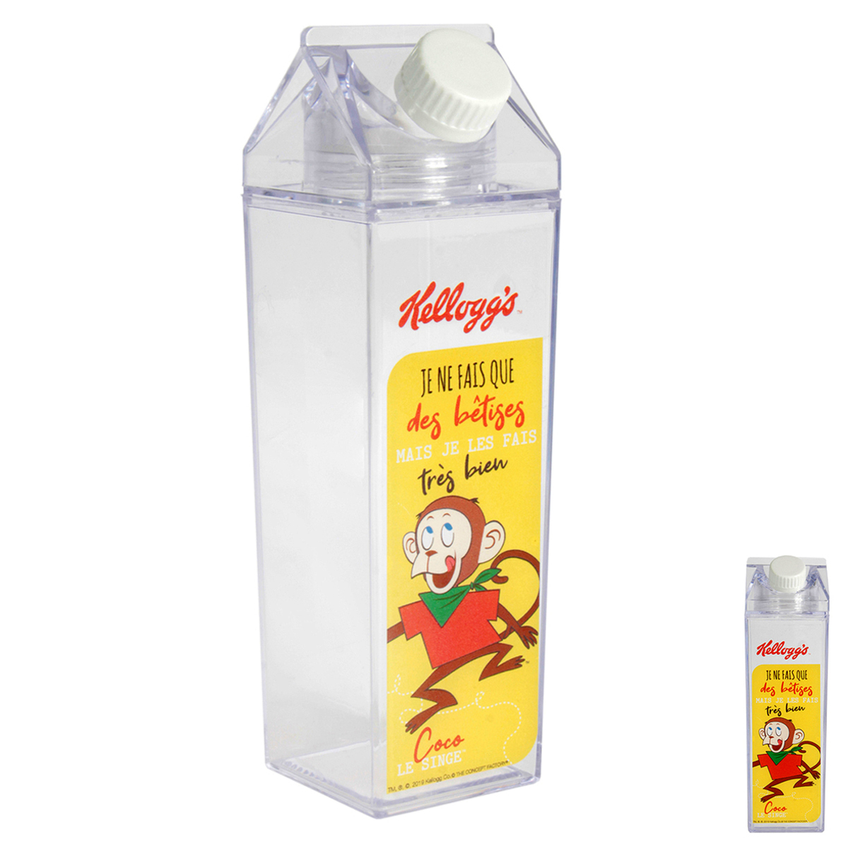 Briquet de lait rétro plastique \'Kellogg\'s\' jaune - 20x6x6 cm (45 cl) - [A2317]