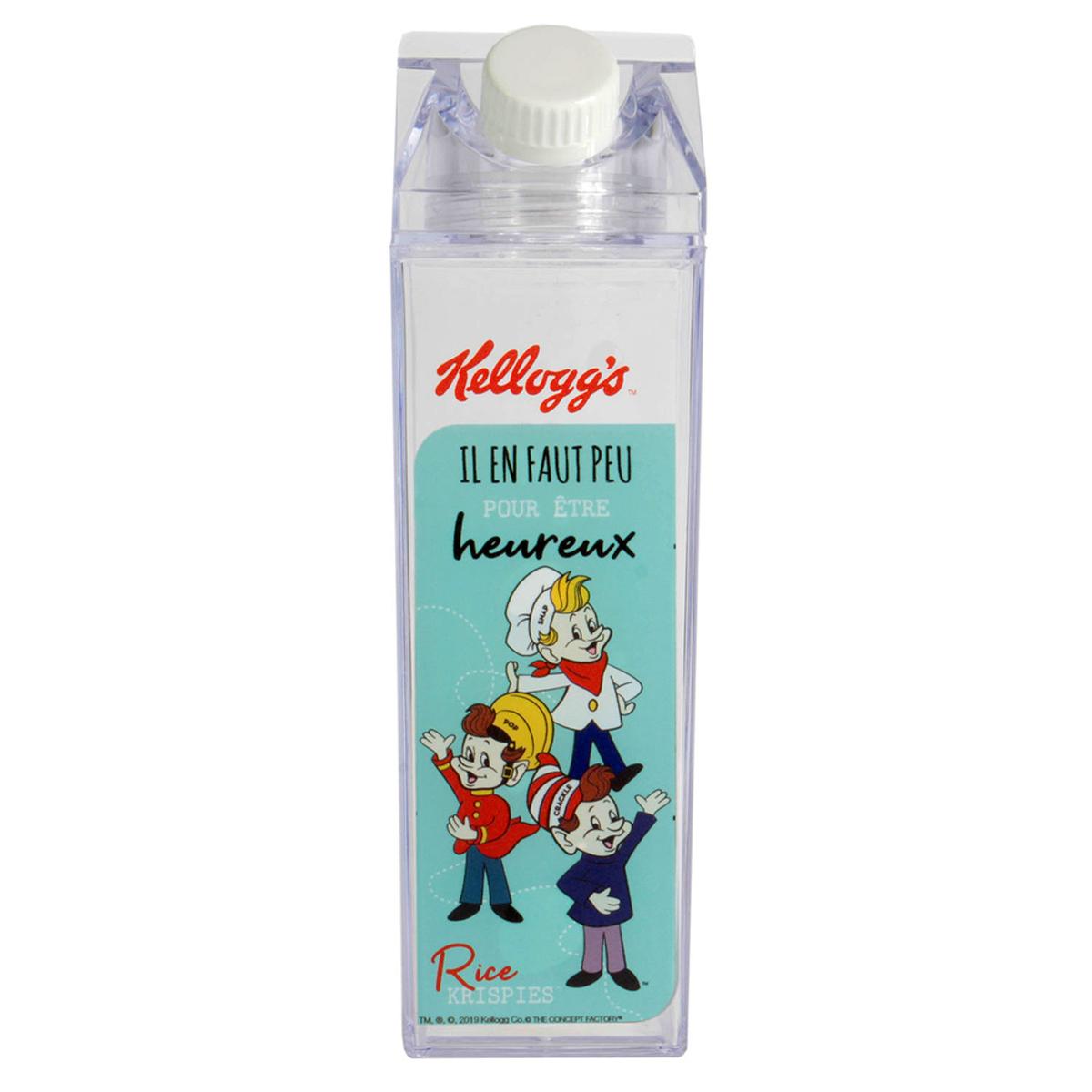 Briquet de lait rétro plastique \'Kellogg\'s\' turquoise - 20x6x6 cm (45 cl) - [A2320]
