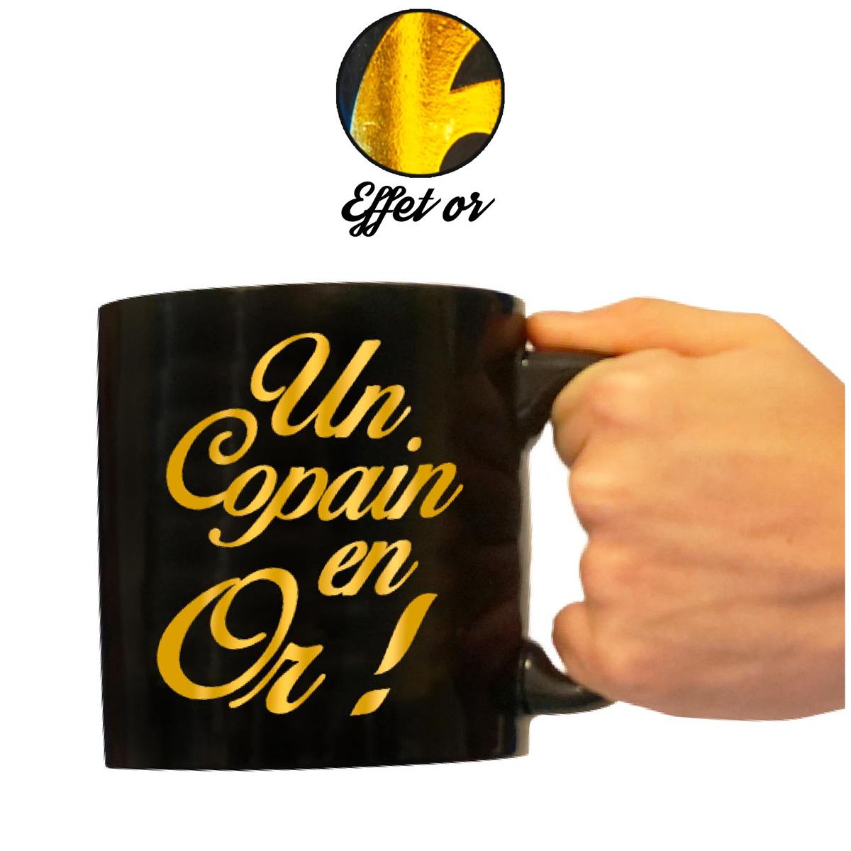 Grand mug tendresse \'Un Copain en Or !\' noir doré - 110x105 mm - [A2334]