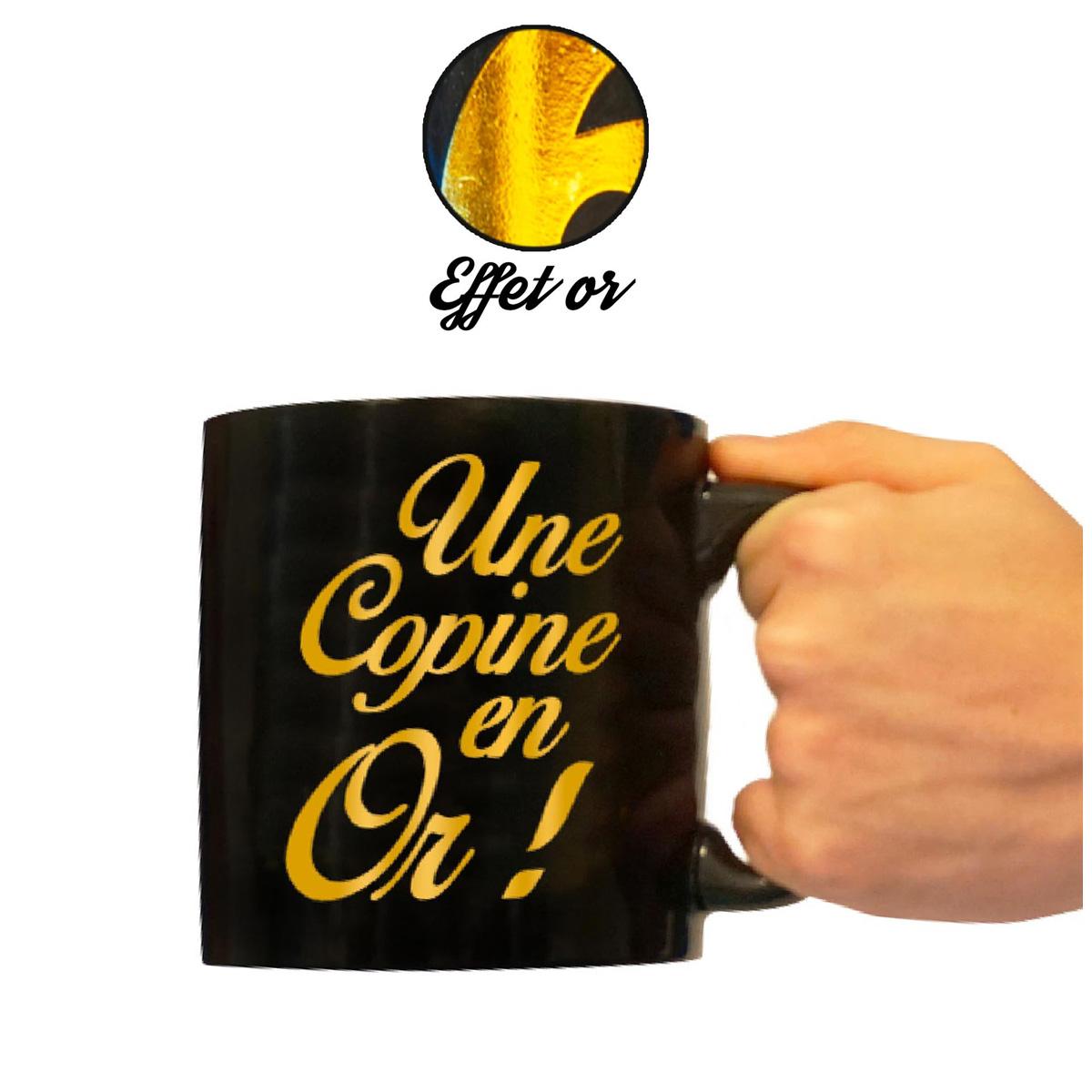 Grand mug tendresse \'Une Copine en Or !\' noir doré - 110x105 mm - [A2335]