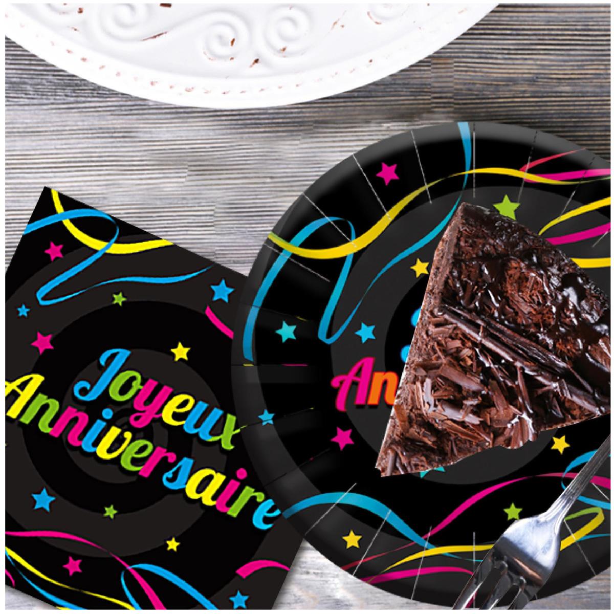 Pack de 12 serviettes en papier \'Joyeux Anniversaire\' noir multicolore - 165x165 mm - [A2336]
