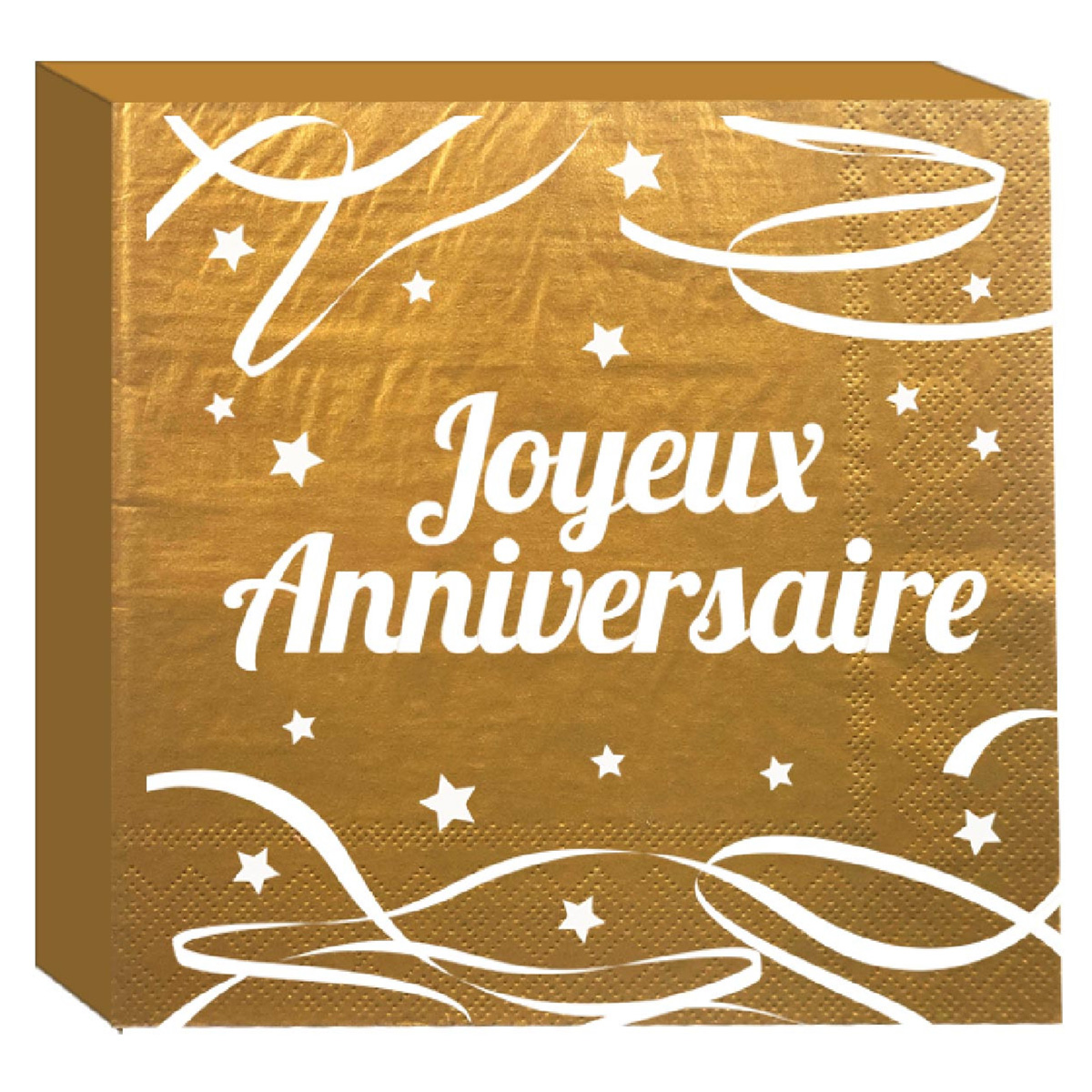 Pack de 12 serviettes en papier \'Joyeux Anniversaire\' doré - 165x165 mm - [A2338]