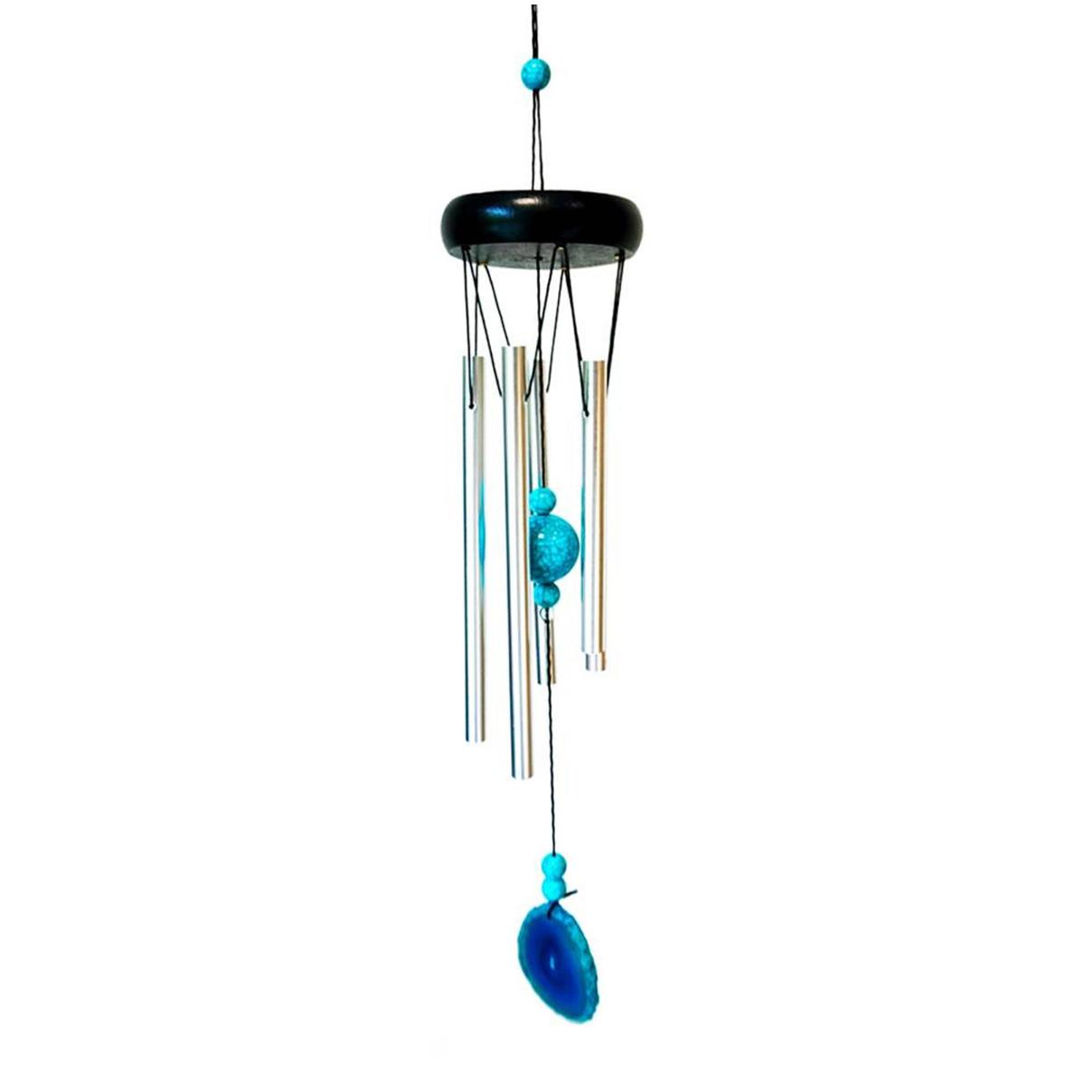 Carillon bois \'Zen attitude\' bleu argenté  - 51x8 cm - [A2342]