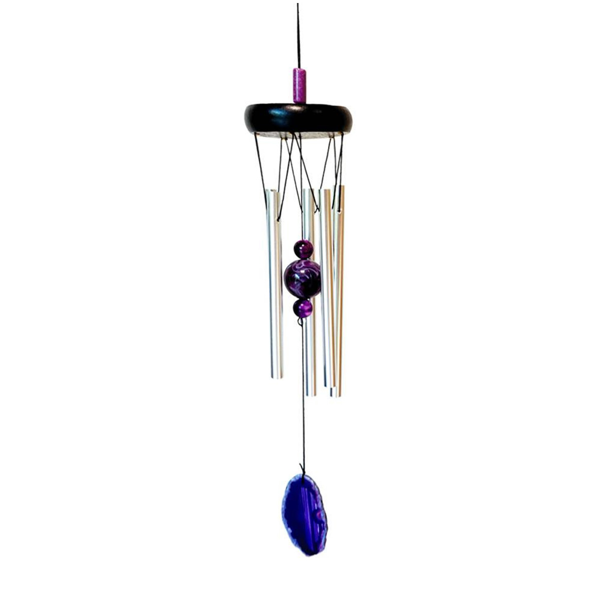 Carillon bois \'Zen attitude\' violet argenté  - 51x8 cm - [A2344]