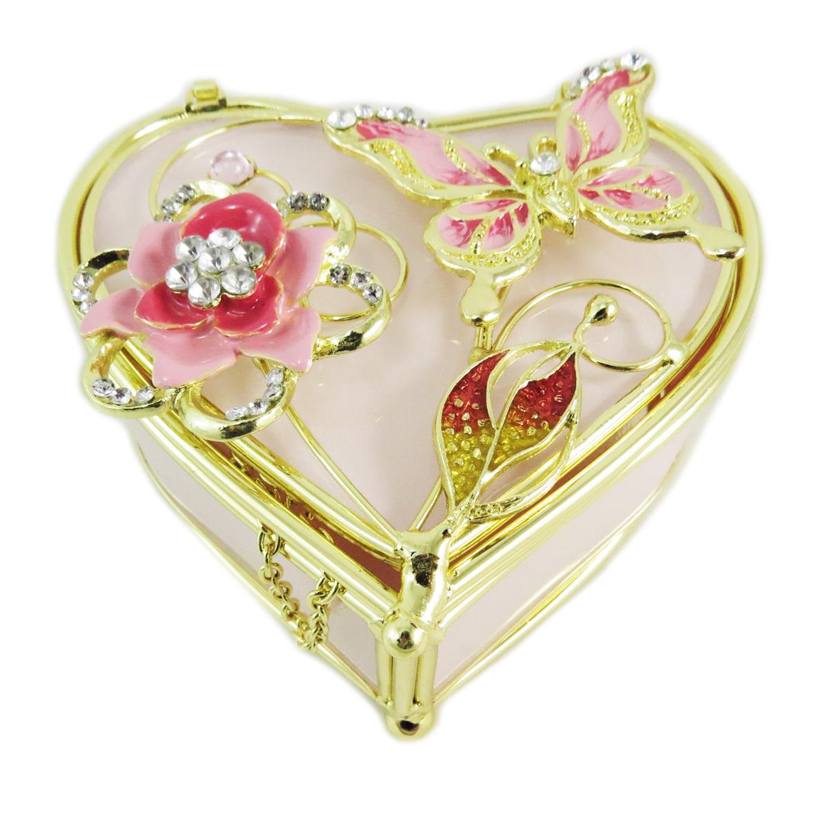 Coffret à Bijoux \'Belle de Soie\' rose doré (coeur) - 10x9x5 cm - [M5530]