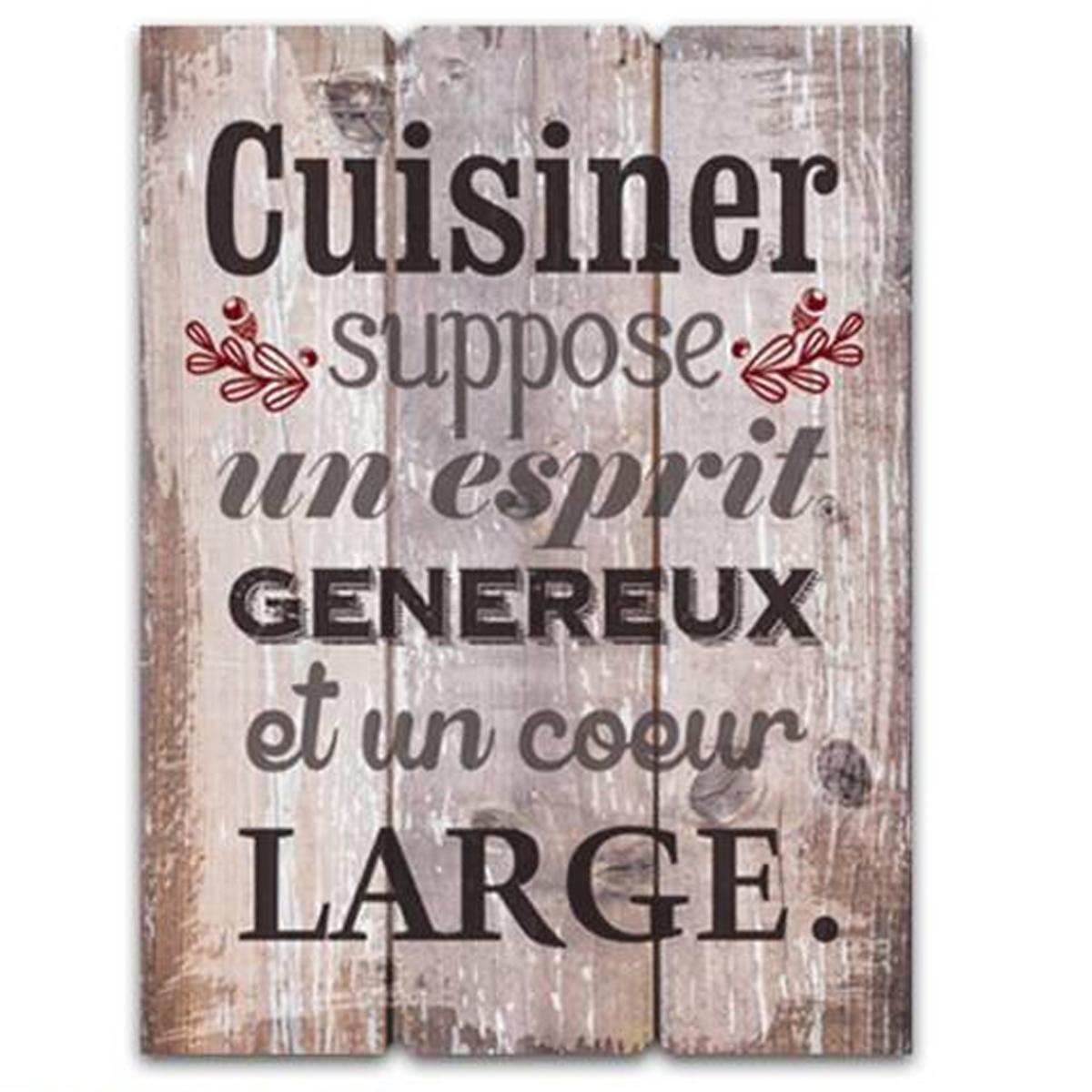 Cadre bois \'Messages\' marron (Cuisiner suppose un esprit généreux et un coeur large) - 40x30 cm - [Q7141]