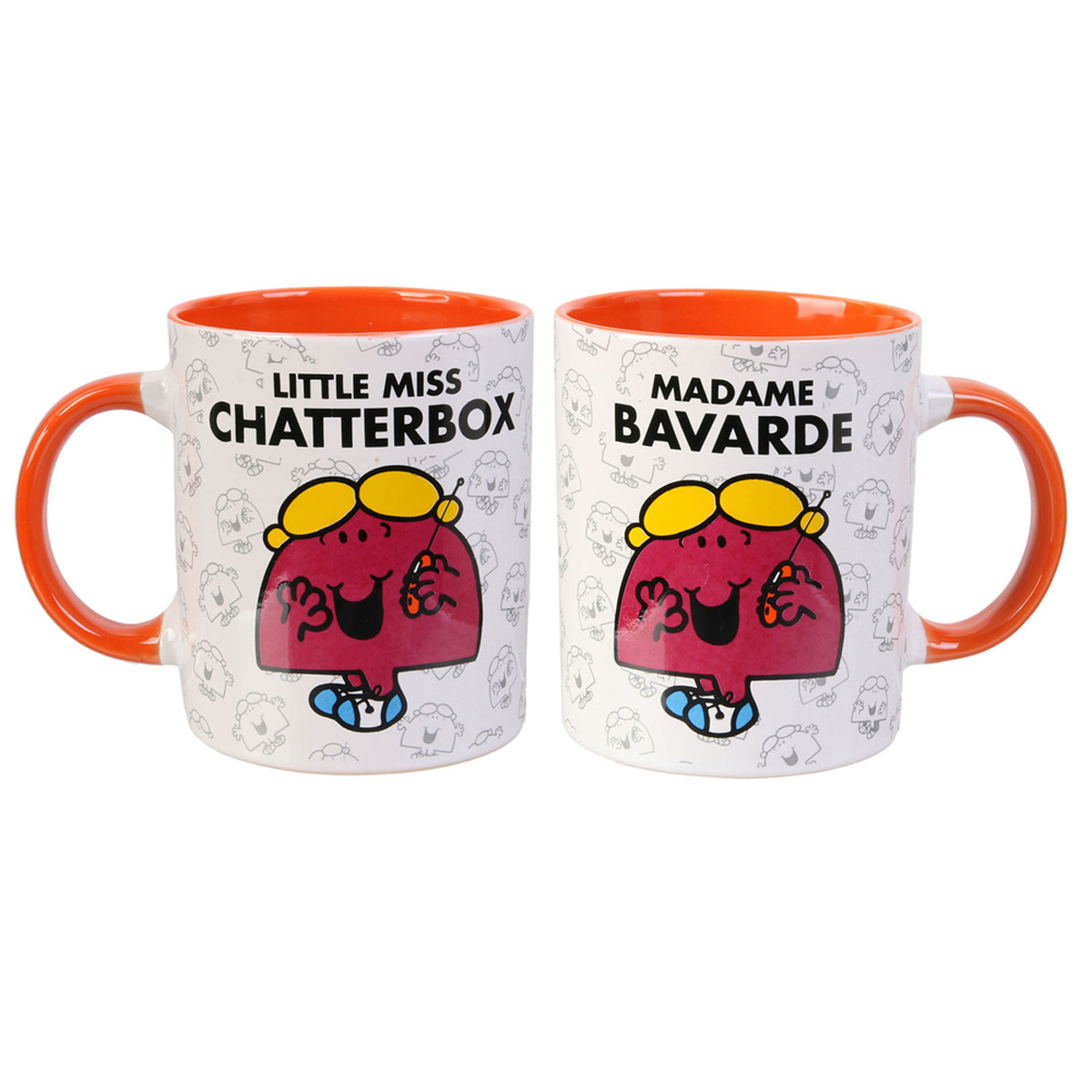 Mug céramique \'Monsieur Madame\' orange (Mme Bavarde - Little miss Chatterbox) - 95x80 mm - [Q8990]