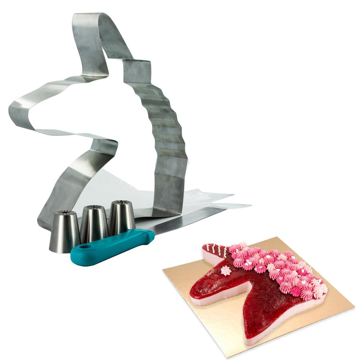 Moule et accessoires inox \'Licorne My Unicorn\' - 27x23x6 cm - [Q9331]