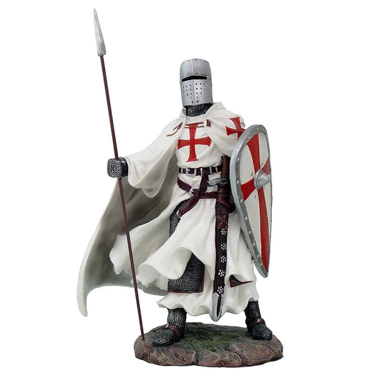 Figurine \'Chevalier de l\'ordre du Temple XIIème siècle\' blanc rouge - 20 cm - [R1454]