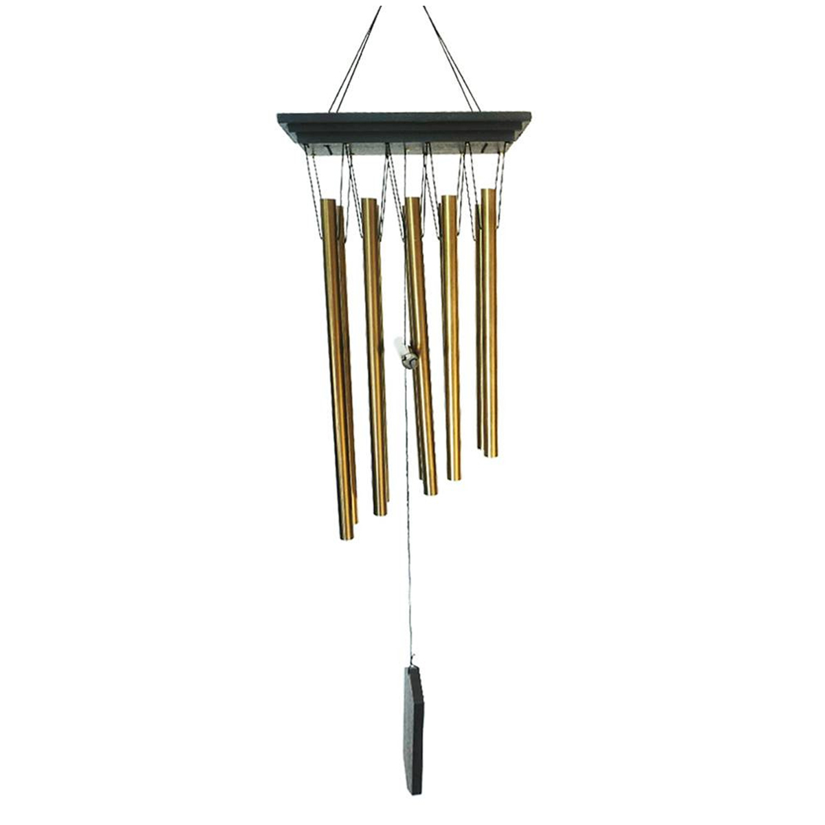 Carillon bois \'Zen attitude\' marron wenge doré  - 81x18x7 cm - [R2643]