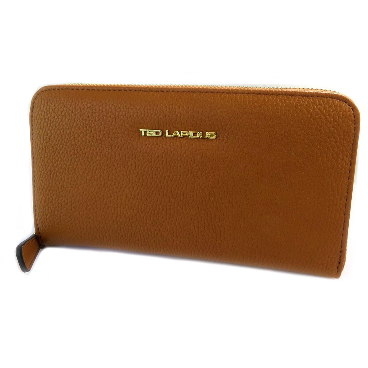 Compagnon zippé \'Ted Lapidus\' marron gold - 20x11x2 cm - [Q2244]