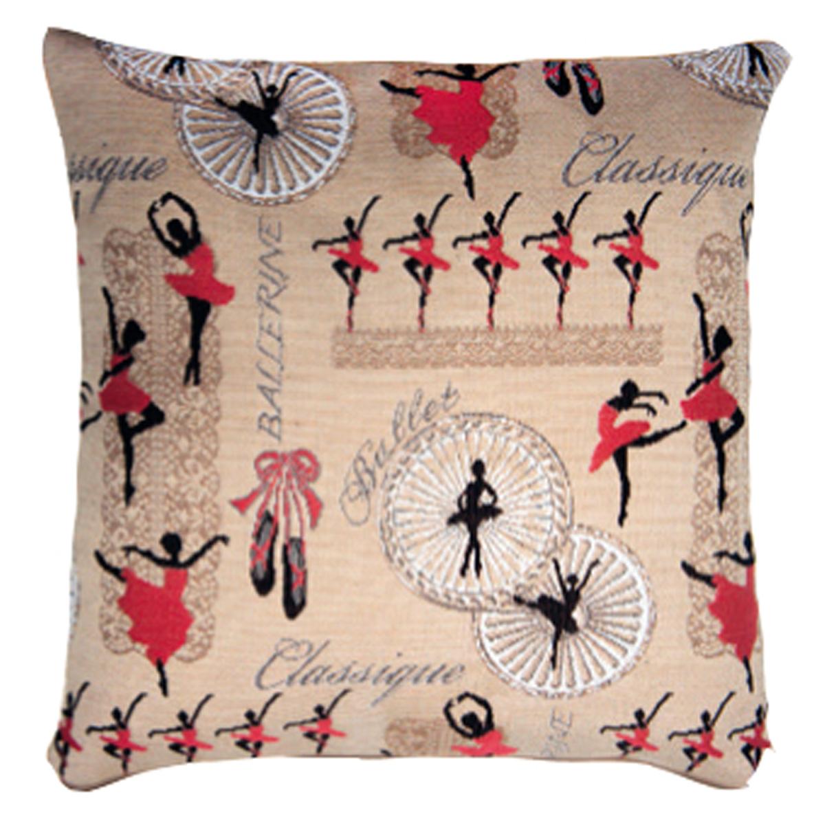 Coussin artisanal \'Royal Tapisserie\' beige rouge (Ballerines)  - 36x36 cm - [Q6352]