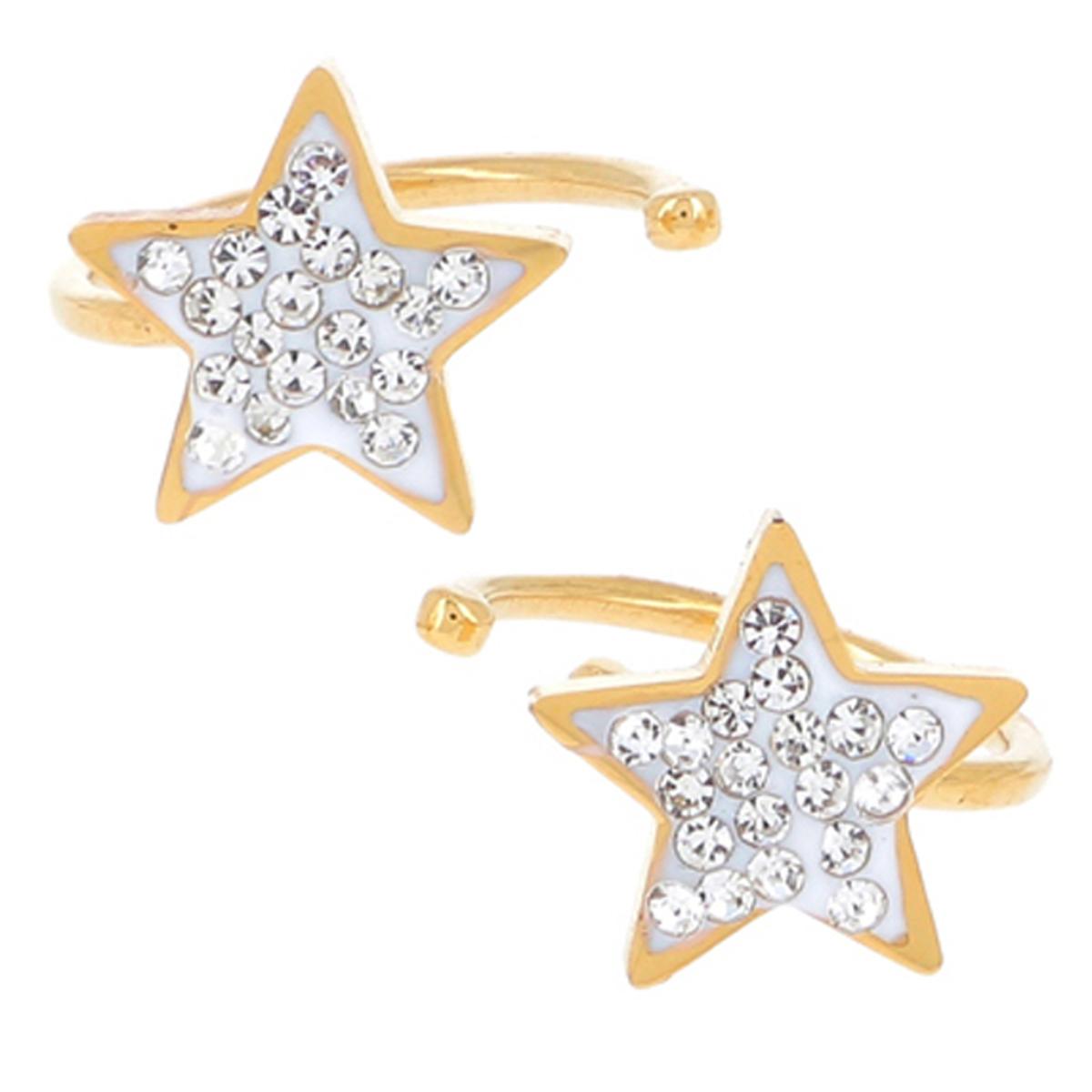 Boucles bagues oreilles acier \'Etoile\' blanc doré - 8 mm - [R4481]