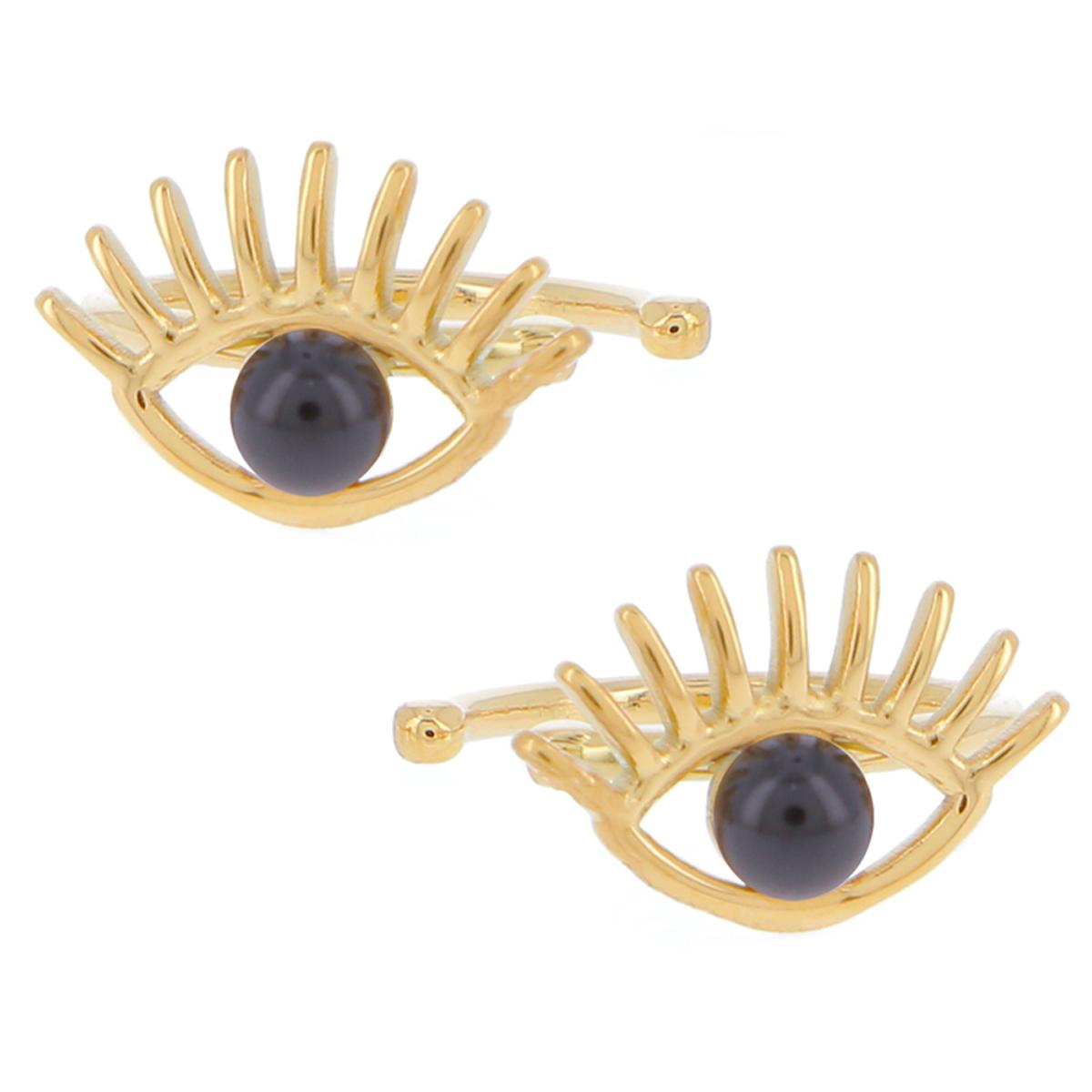 Boucles bagues oreilles acier \'Oeil de Fatma\' noir doré - 10x7 mm - [R4482]