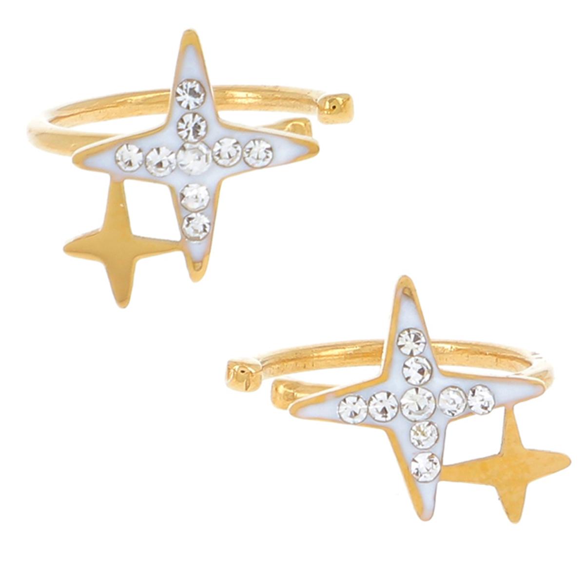 Boucles bagues oreilles acier \'Etoile\' blanc doré - 8 mm - [R4483]