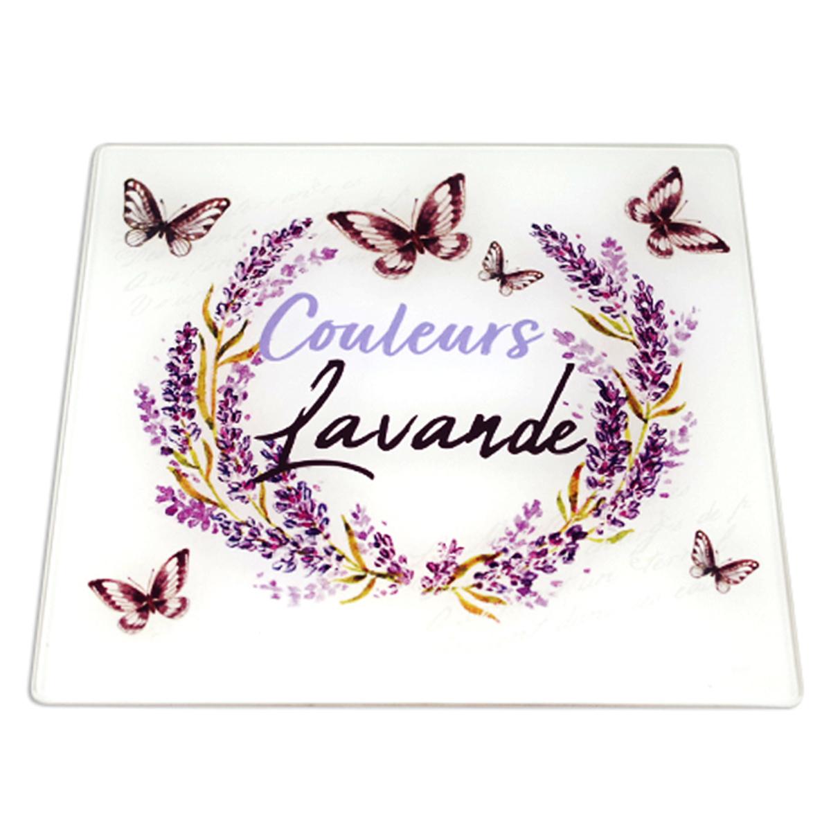 Dessous de plat verre \'Couleurs Lavande\' violet blanc  - 20x20 cm - [A0025]