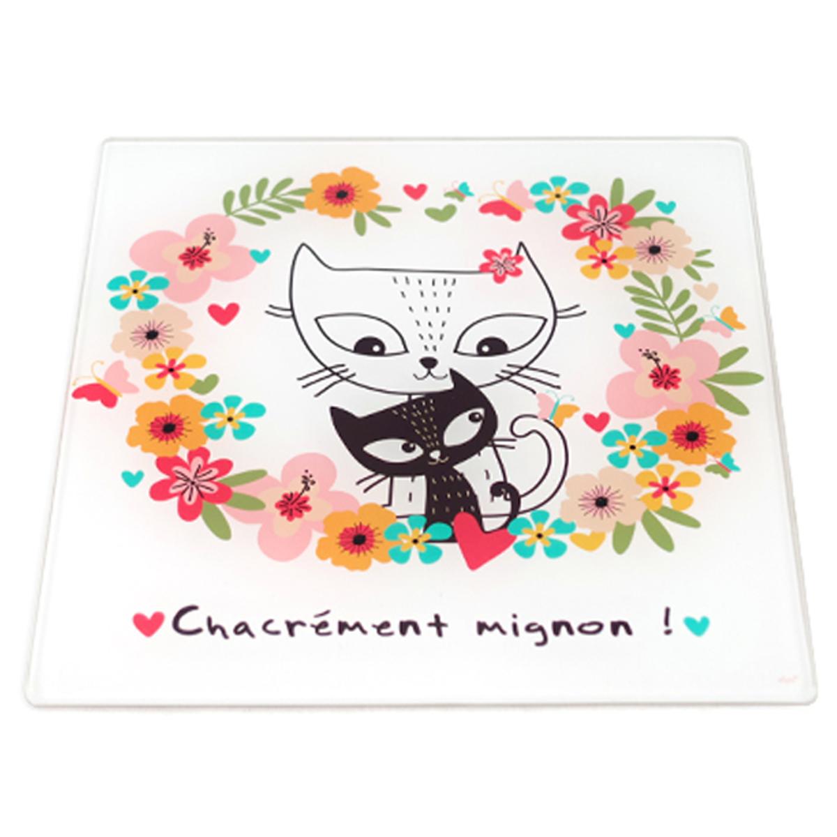 Dessous de plat verre \'Chats\' multicolore (Chacrément mignon !) - 20x20 cm - [A0094]