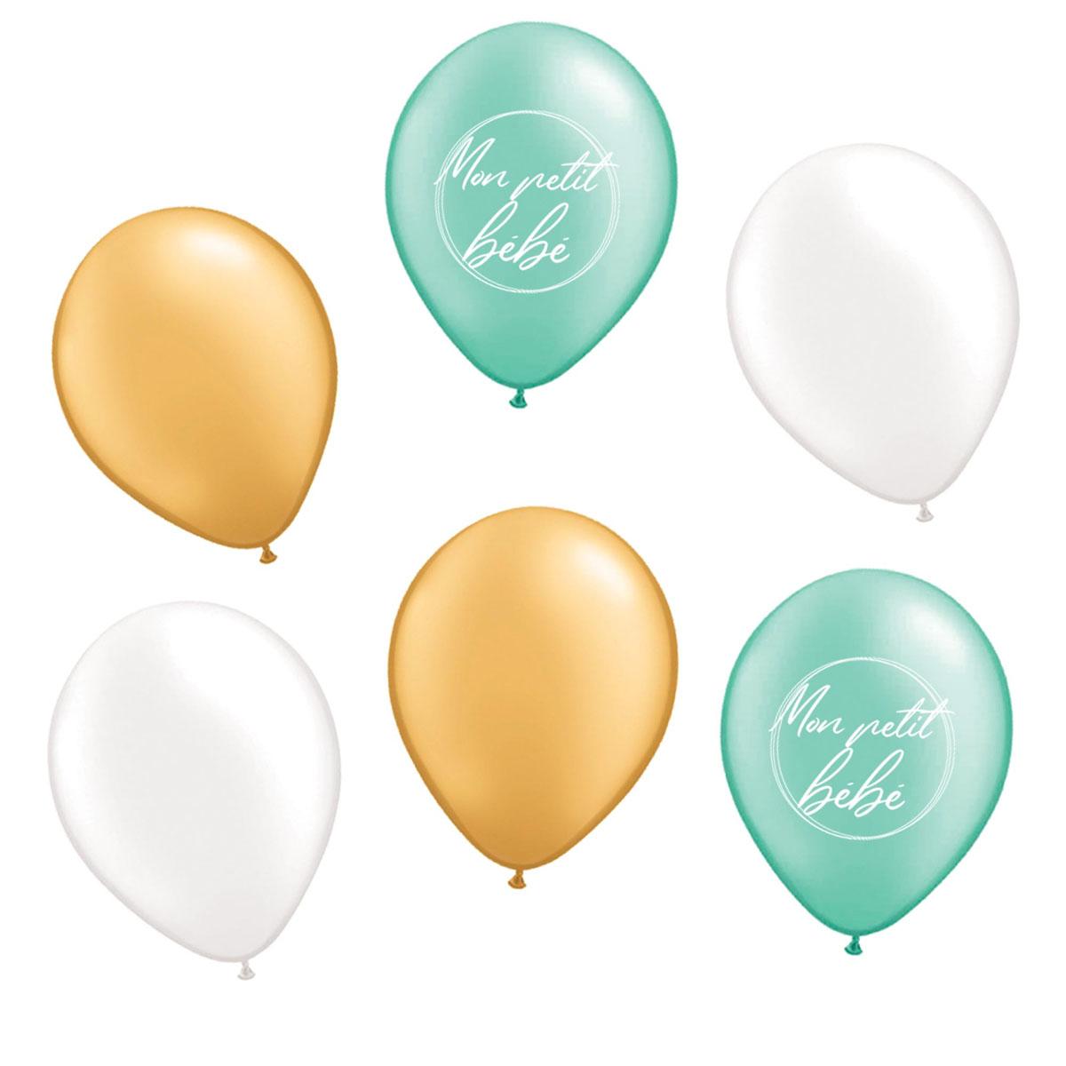 6 ballons métalliques latex \'Baby Shower\' vert - 30 cm - [A0830]