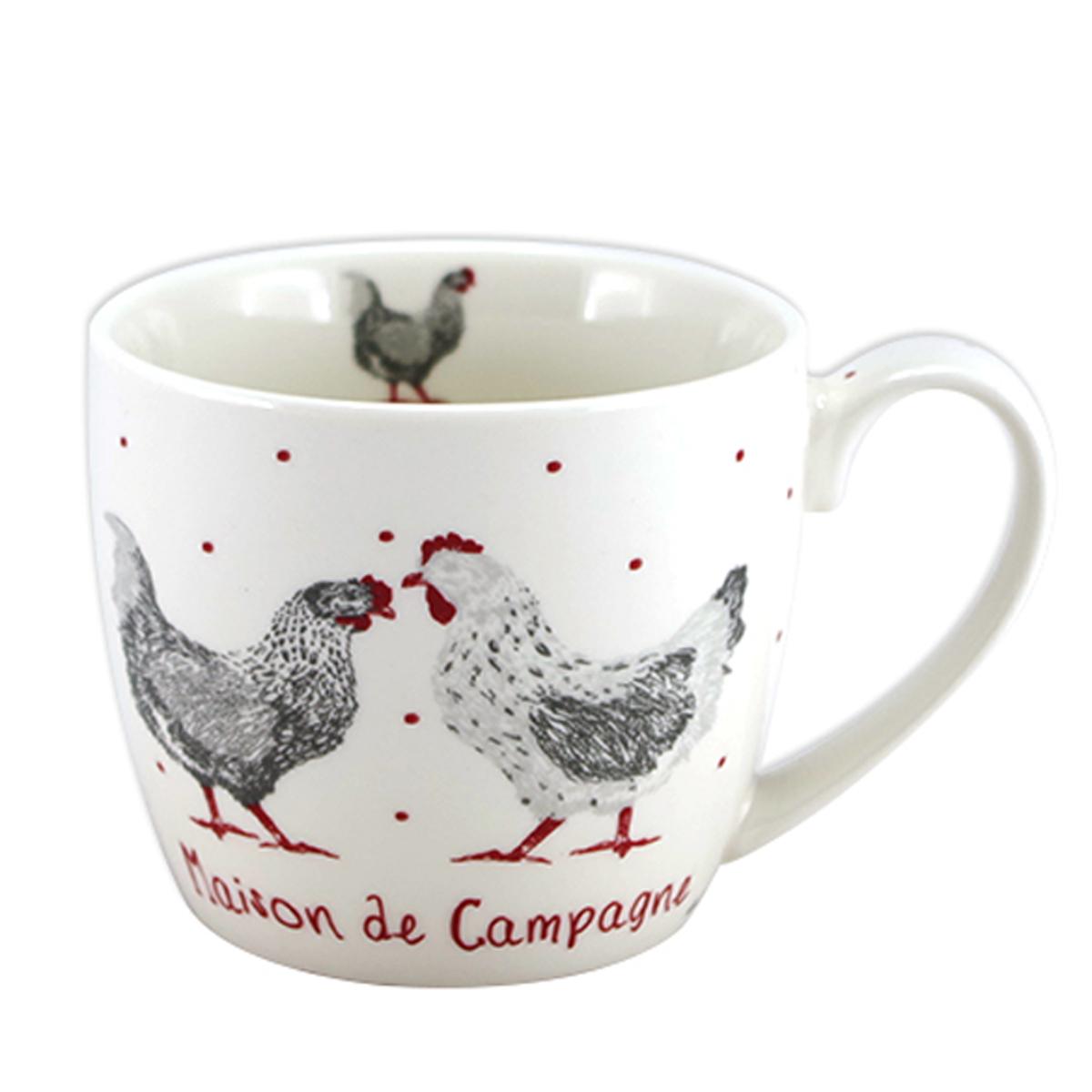 Mug porcelaine \'Poules\' rouge blanc (Maison de Campagne) - 10x85 cm (38 cl) - [A1119]