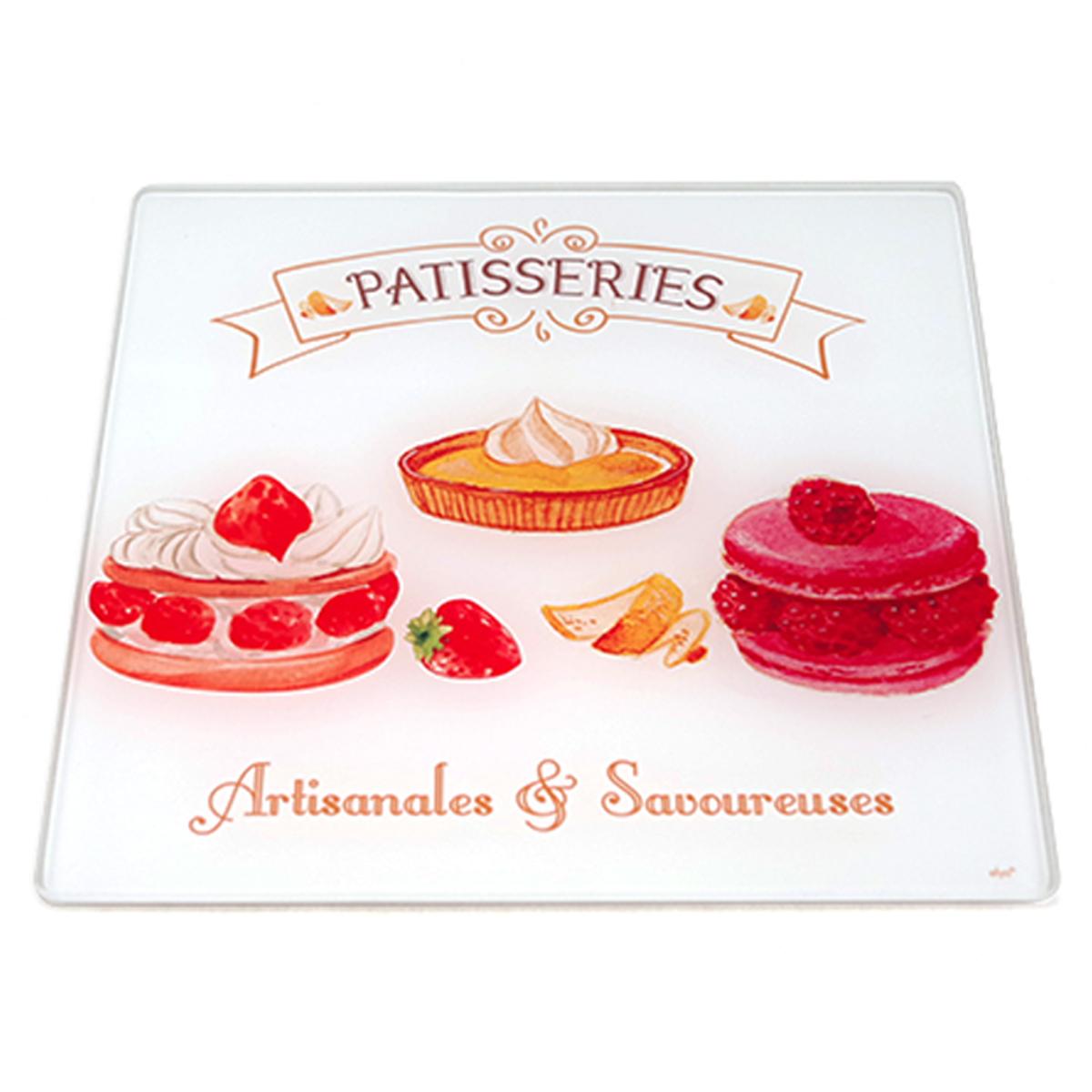 Dessous de plat verre \'Pâtisseries\' rouge blanc  - 20x20 cm - [A1586]