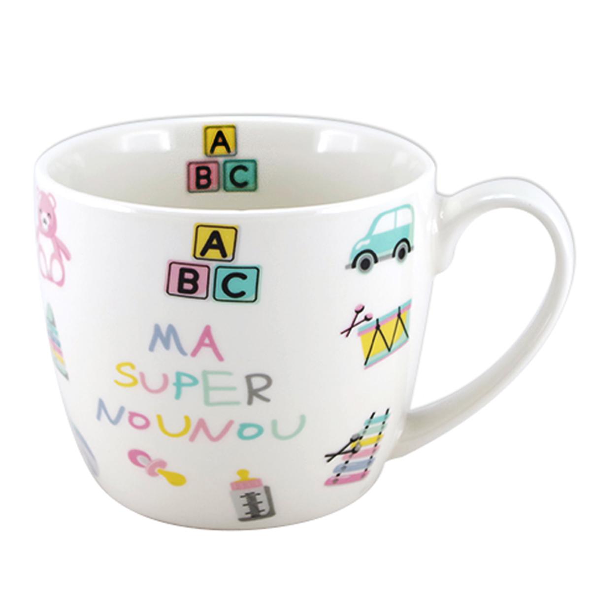 Mug porcelaine \'Ma Super Nounou\' multicolore - 100x85 mm (38 cl) - [A2143]