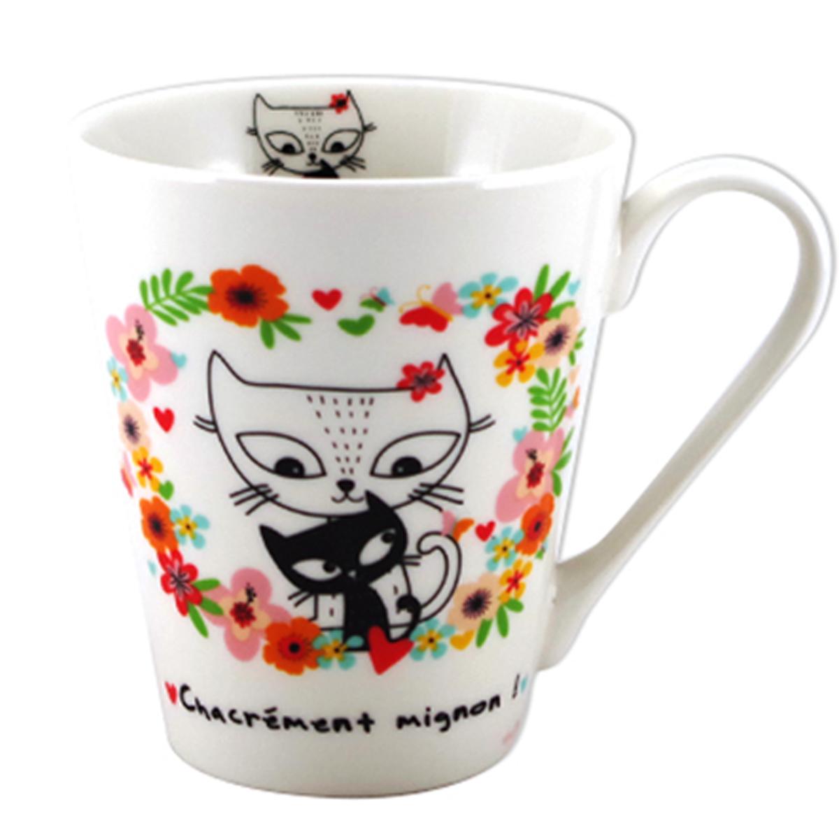 Mug porcelaine \'Chats\' multicolore (Chacrément mignon !) - 100x85 mm (32 cl) - [A2175]