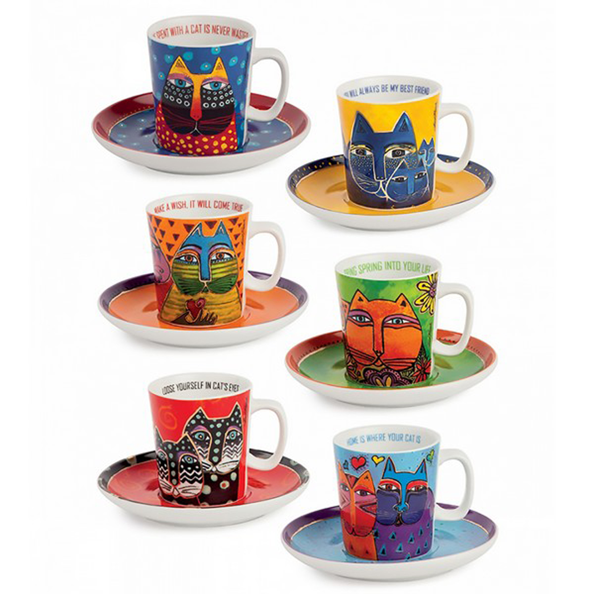Coffret 6 tasses espressos porcelaine \'Laurel Burch\' multicolore (chats) - tasse 60x65 mm - [A2394]