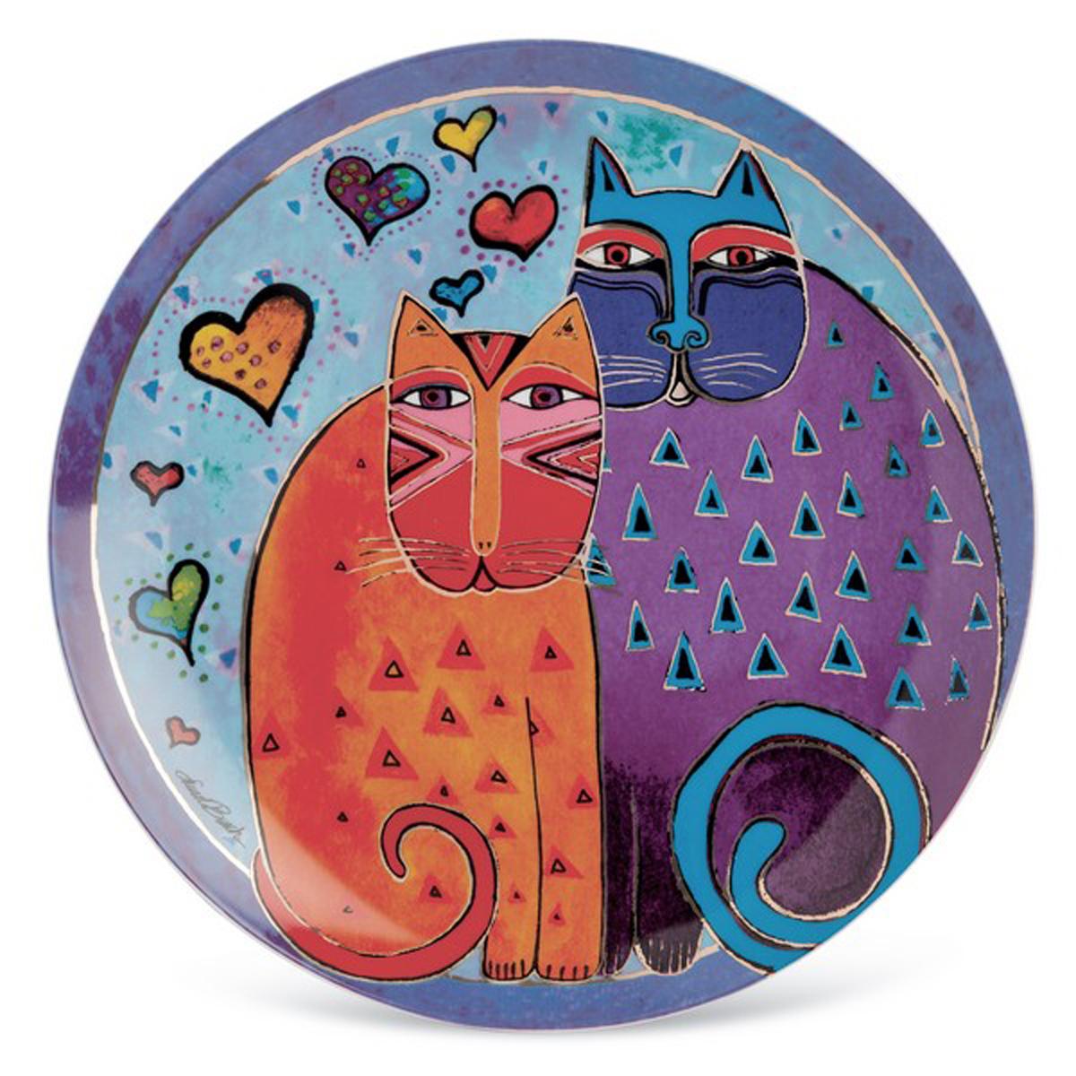 Plat porcelaine \'Laurel Burch\' multicolore (chats) - 30 cm - [A2395]