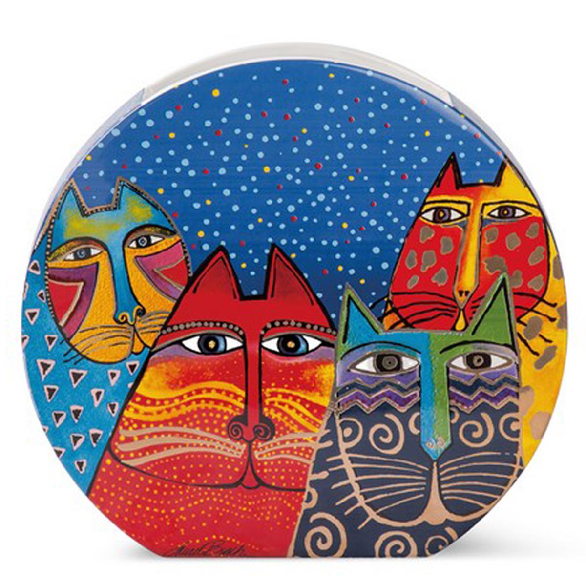 Vase céramique \'Laurel Burch\' multicolore (chats) - 27x25x6 cm - [A2396]